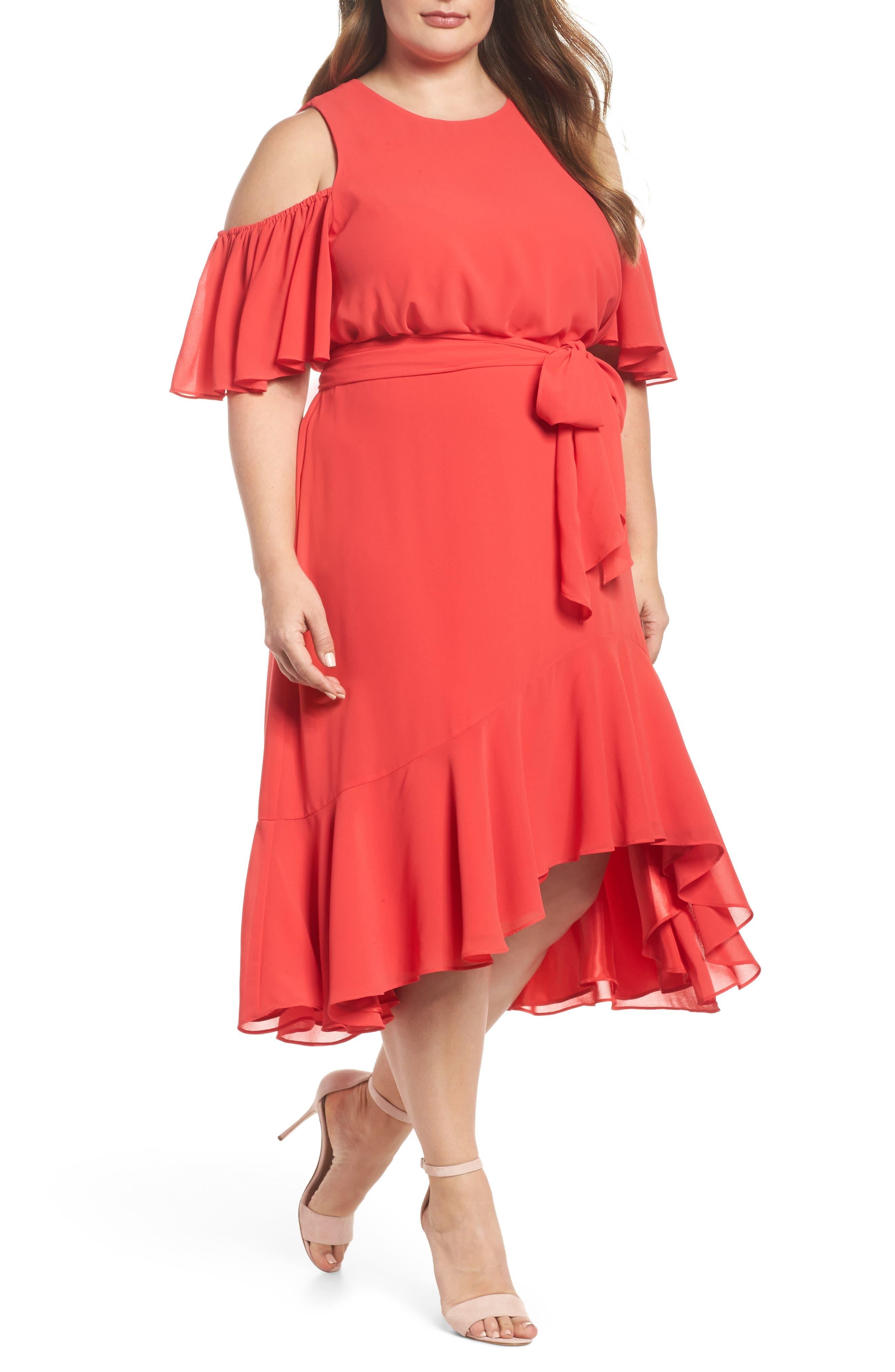 Eliza J Cold Shoulder Midi Dress (Plus Size)