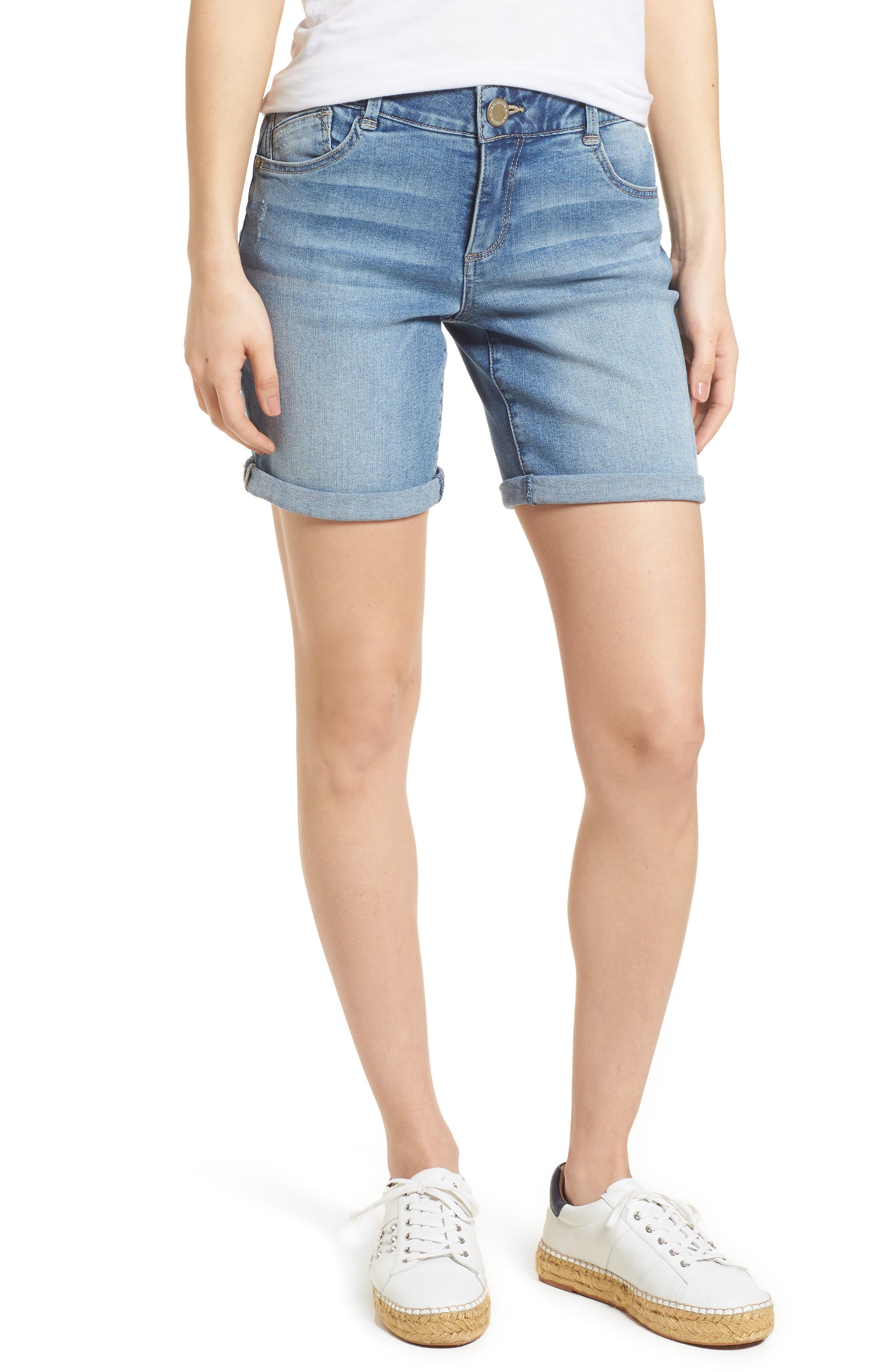 Ab-solution Denim Bermuda Shorts,                             Main thumbnail 1, color,                             Light Blue
