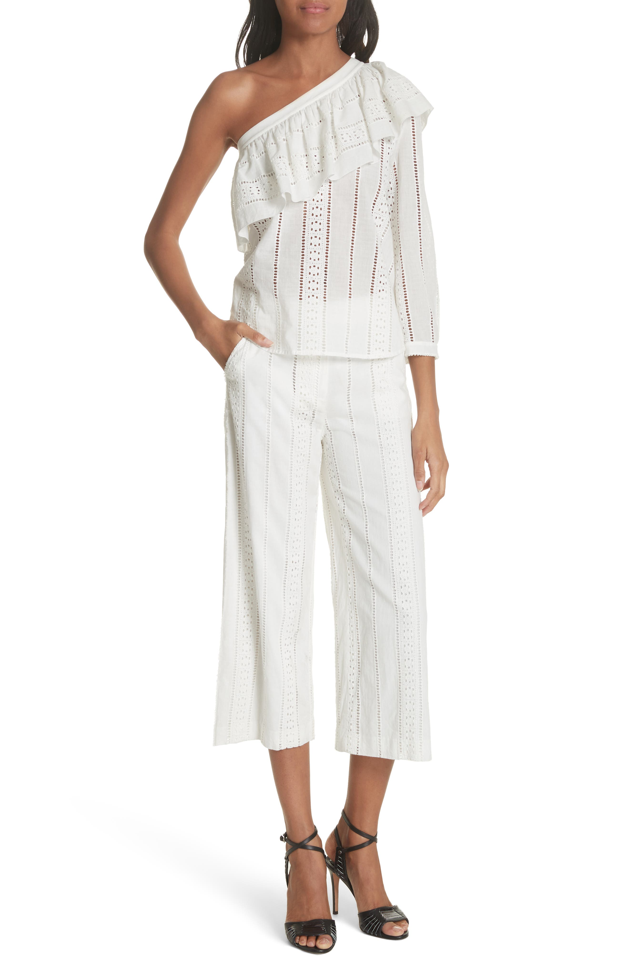 Leta Eyelet Gaucho Pants,                             Alternate thumbnail 7, color,                             White