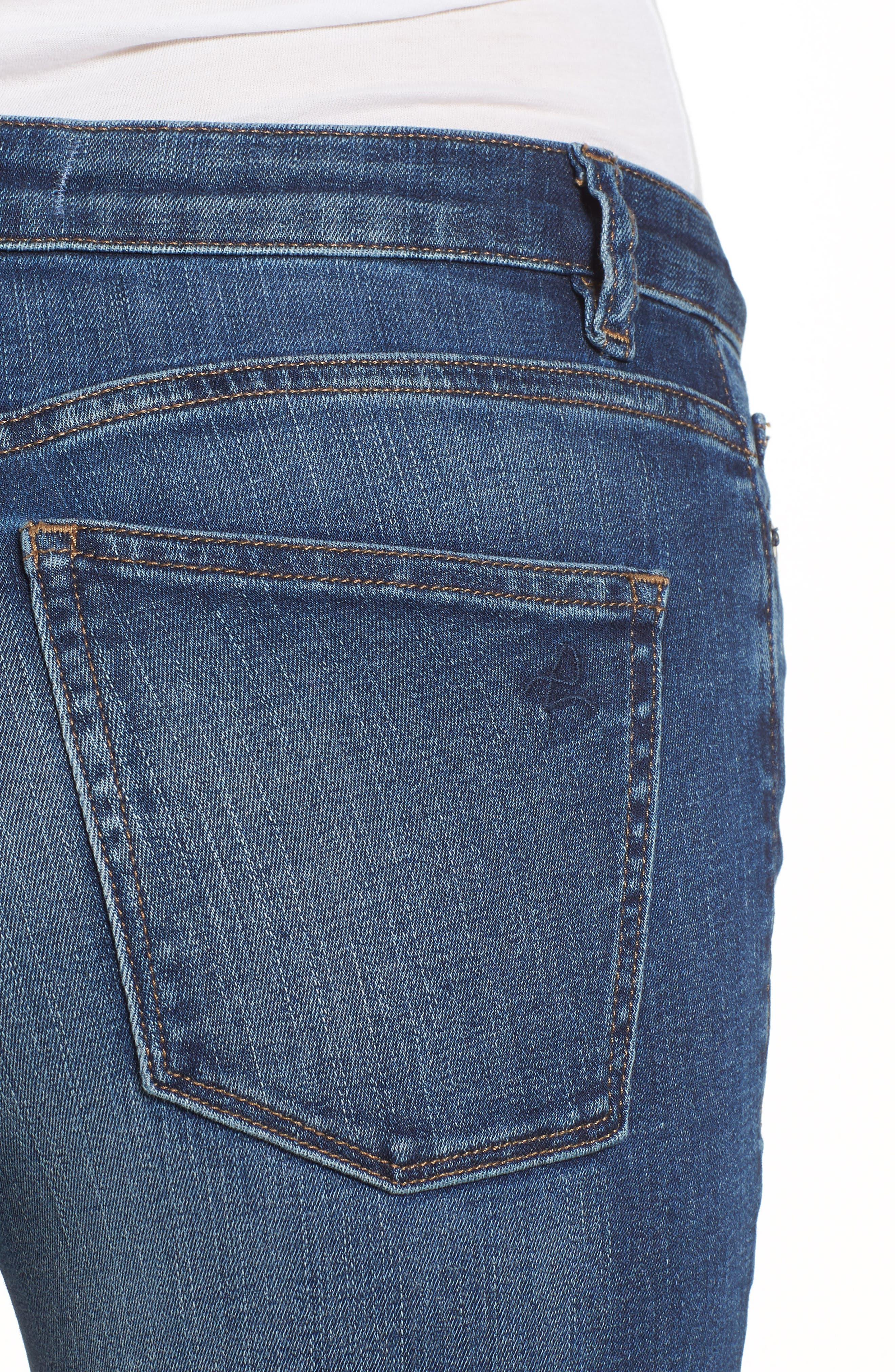 Chrissy Trimtone High Waist Skinny Jeans,                             Alternate thumbnail 4, color,                             Bal Harbour