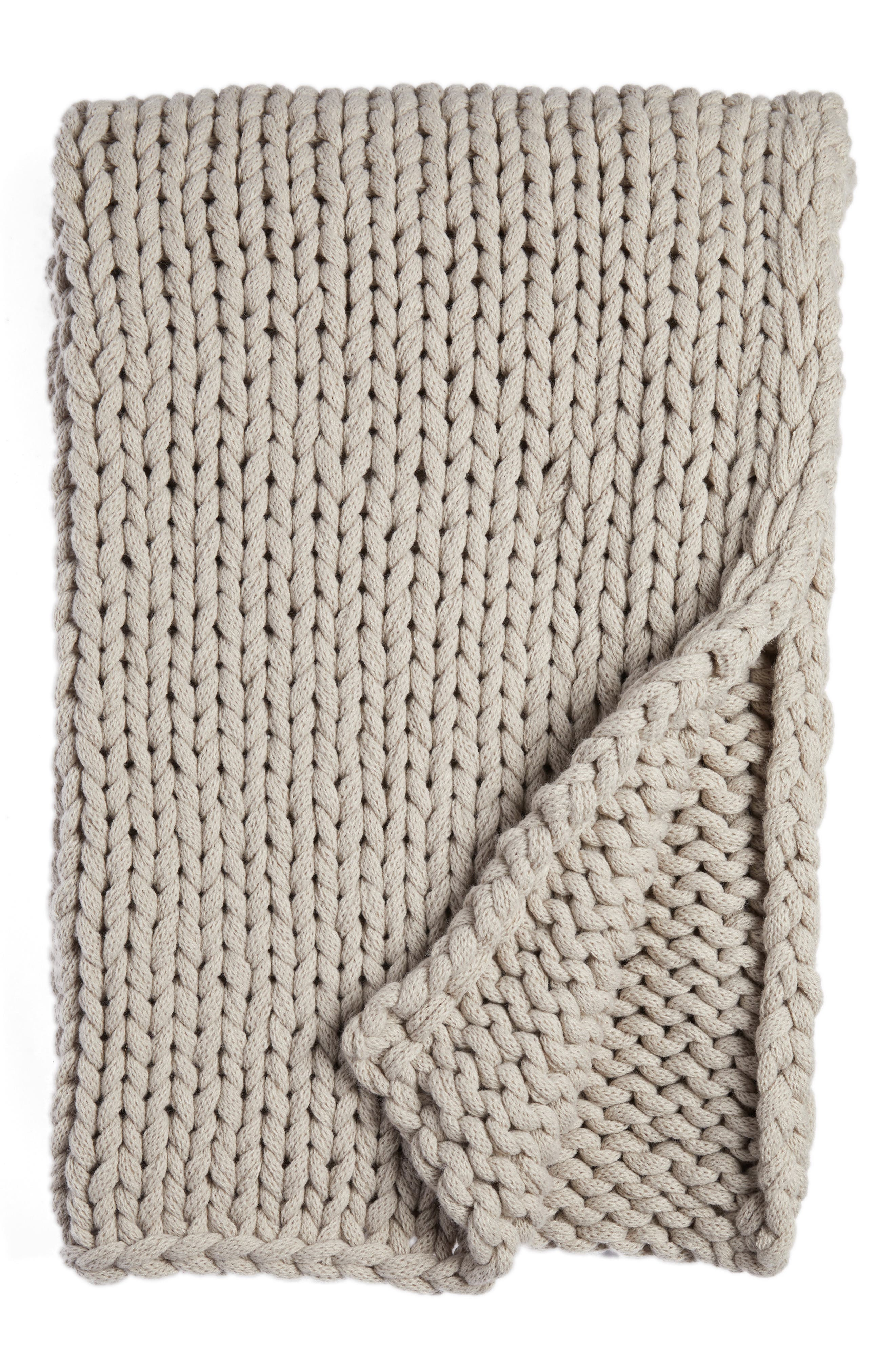 Jersey Rope Throw,                         Main,                         color, Grey Owl