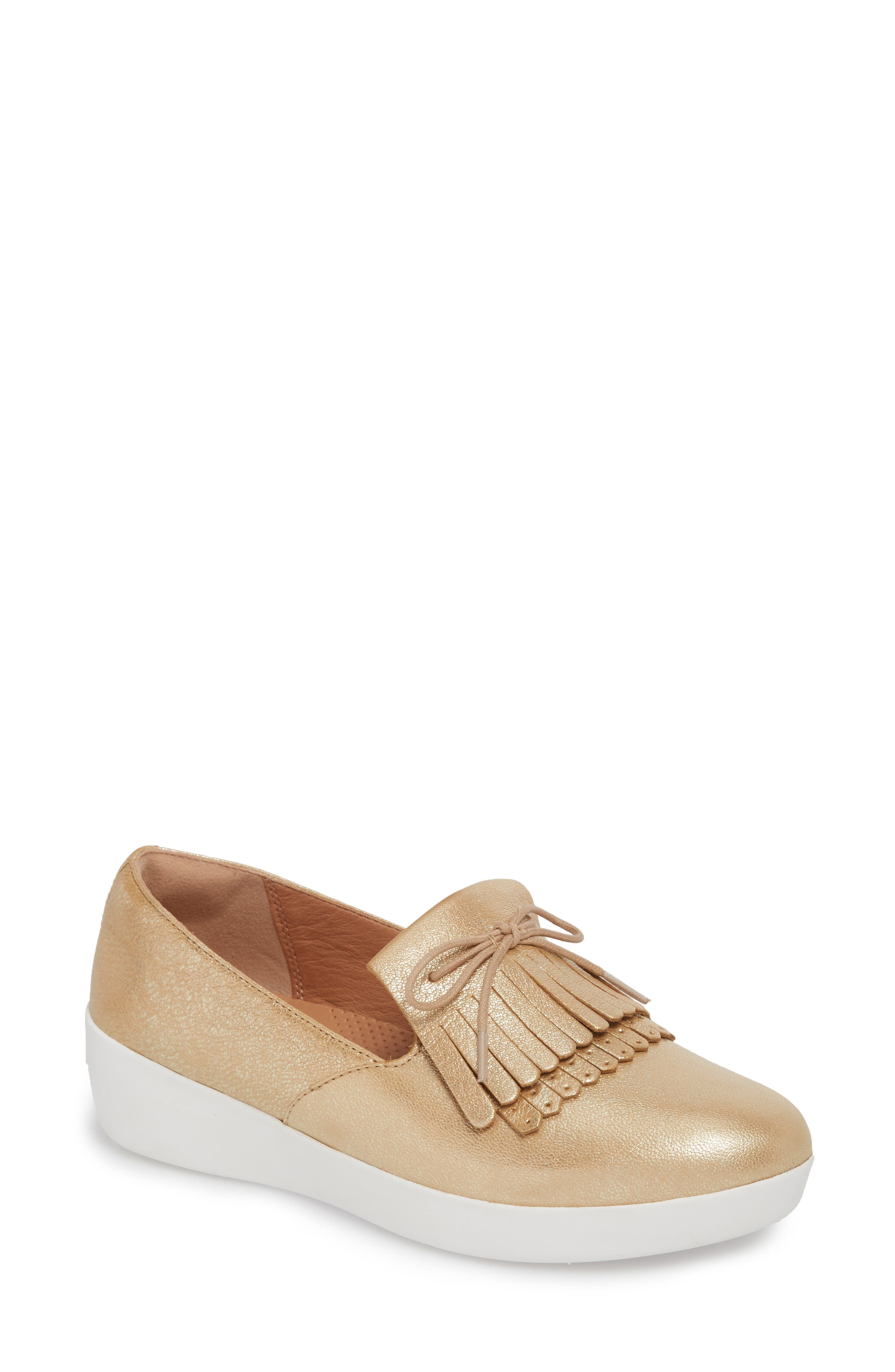 Superskate Fringe Loafer,                         Main,                         color, Metallic Gold Leather