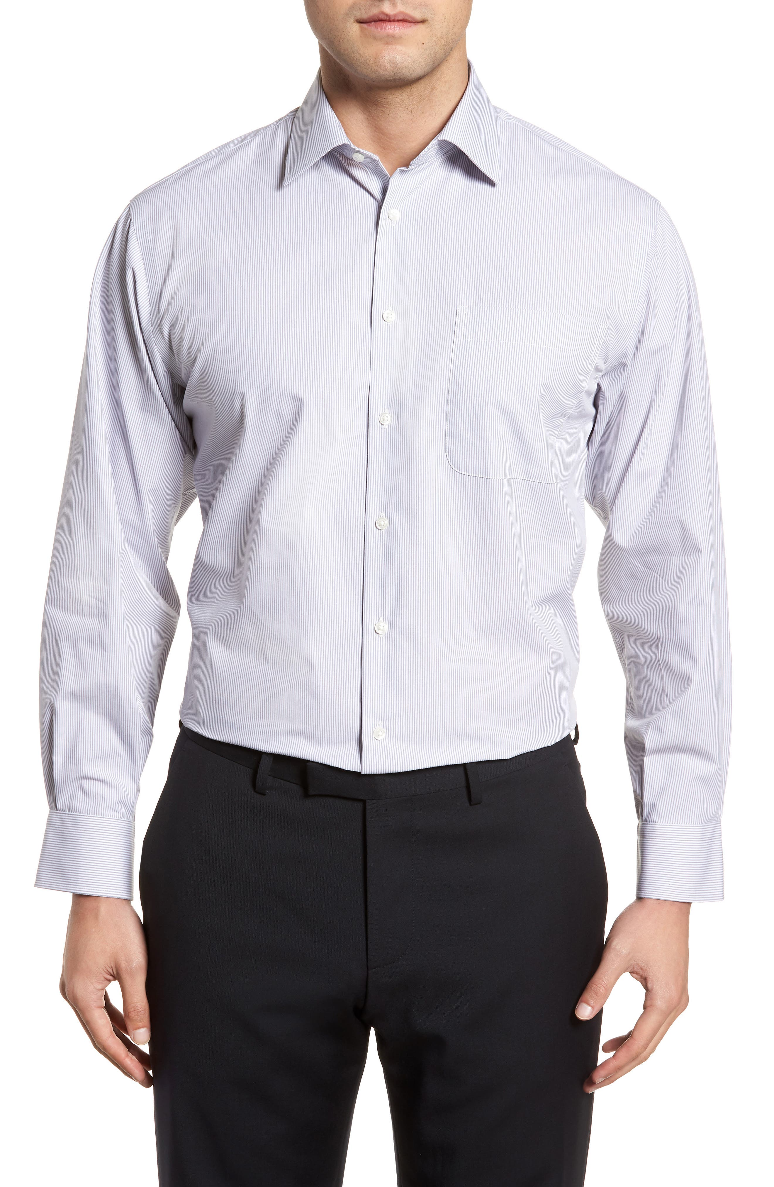Classic Fit Non-Iron Stripe Dress Shirt,                         Main,                         color, Grey Micro
