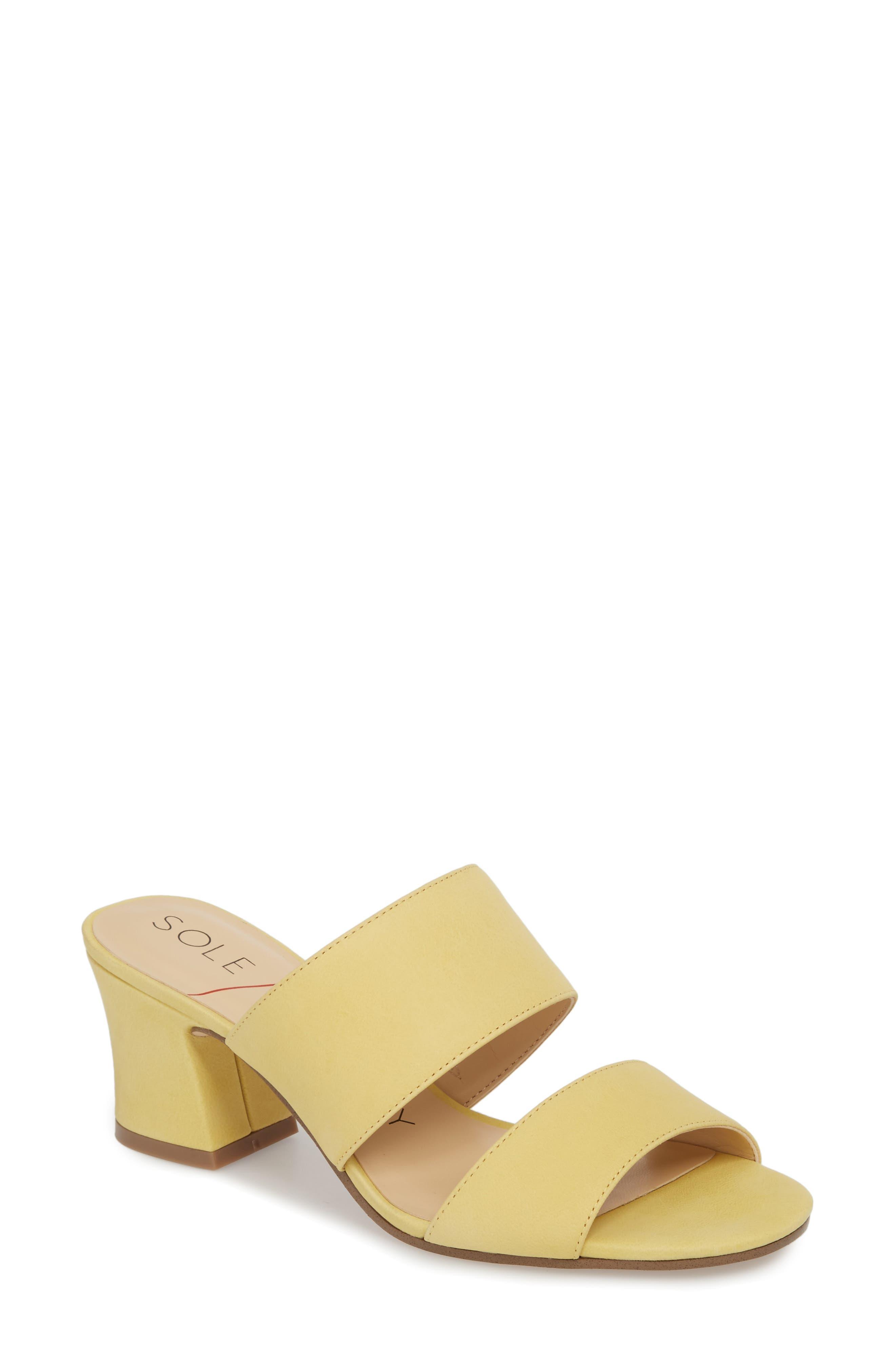 Heline Slide Sandal,                             Main thumbnail 1, color,                             Pale Yellow