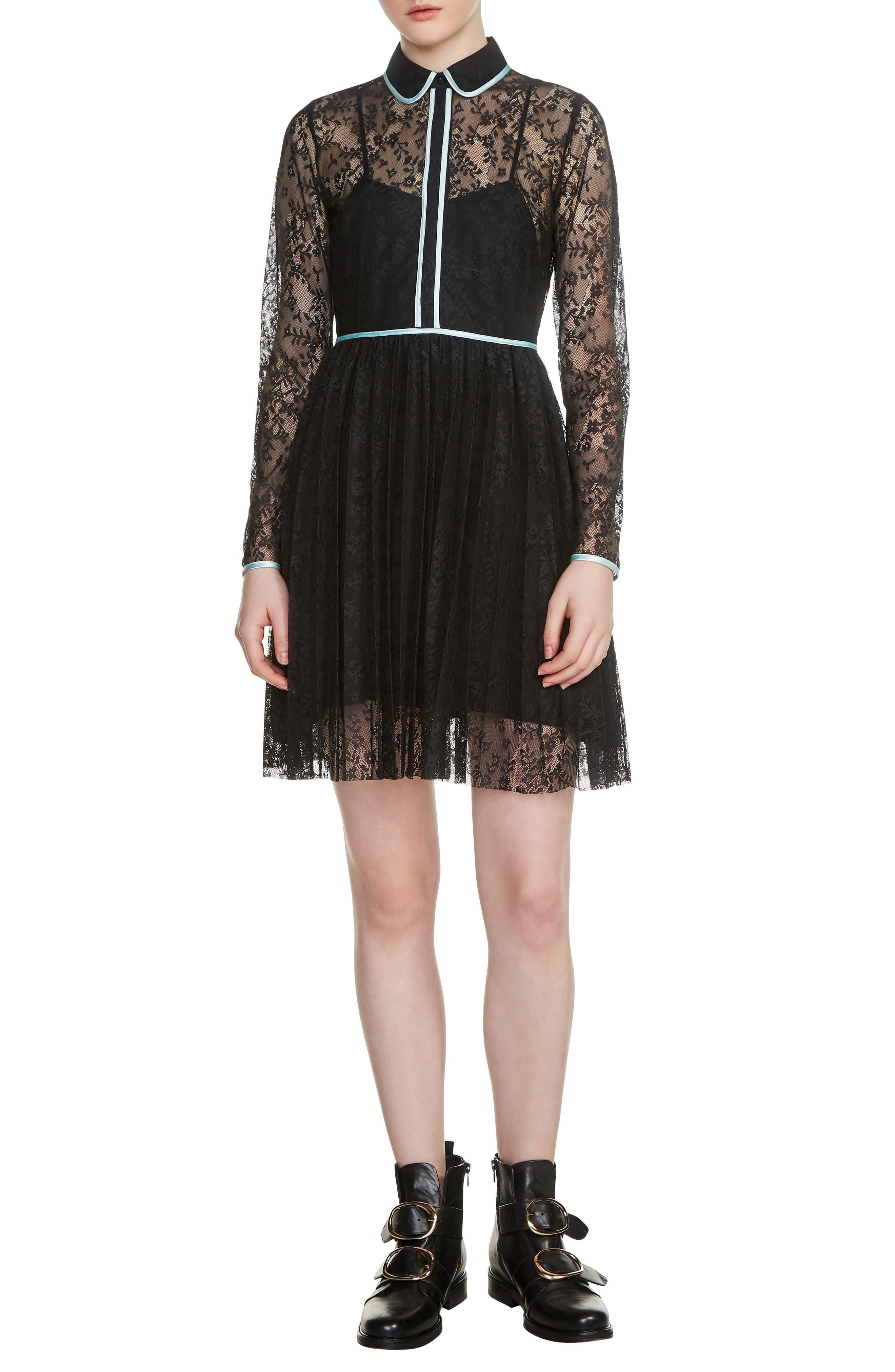 Rabilo Lace Shirtdress,                             Main thumbnail 1, color,                             Black 210