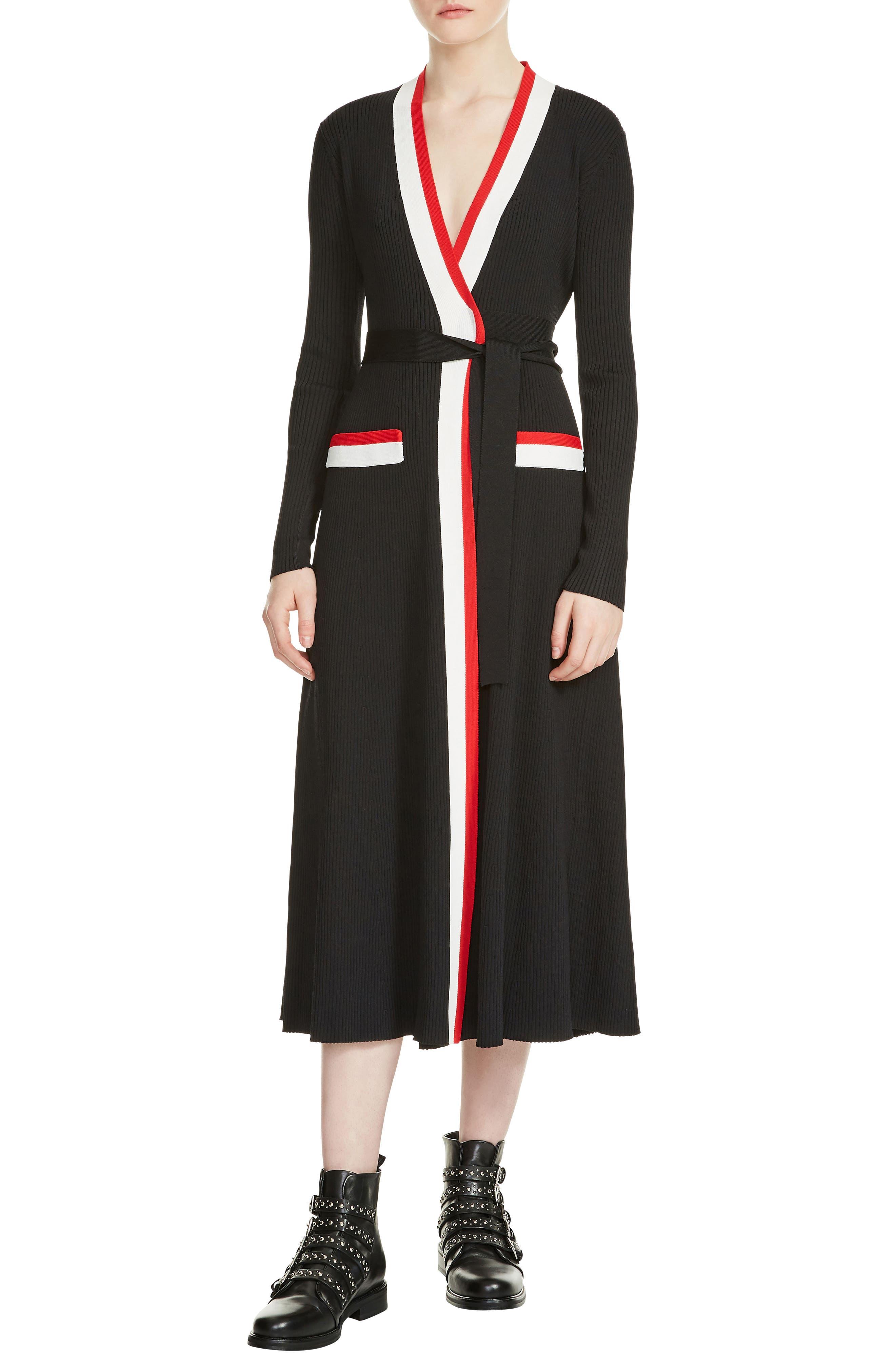 Rosiana Wrap Midi Dress,                             Main thumbnail 1, color,                             Black 210