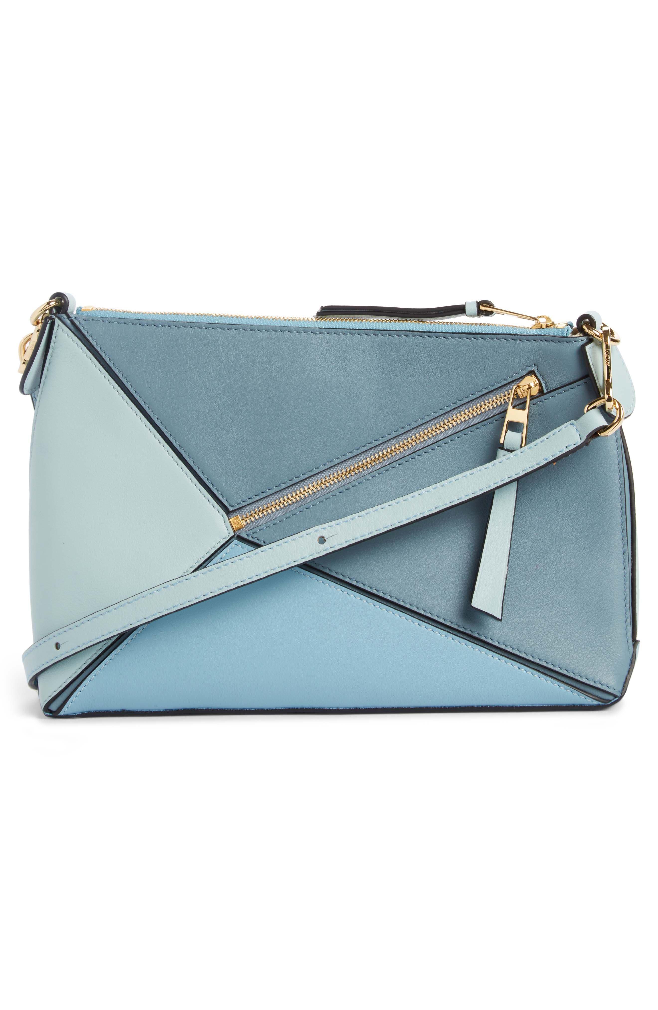 Mini Puzzle Calfskin Leather Crossbody Bag,                             Alternate thumbnail 3, color,                             Stone Blue Multitone
