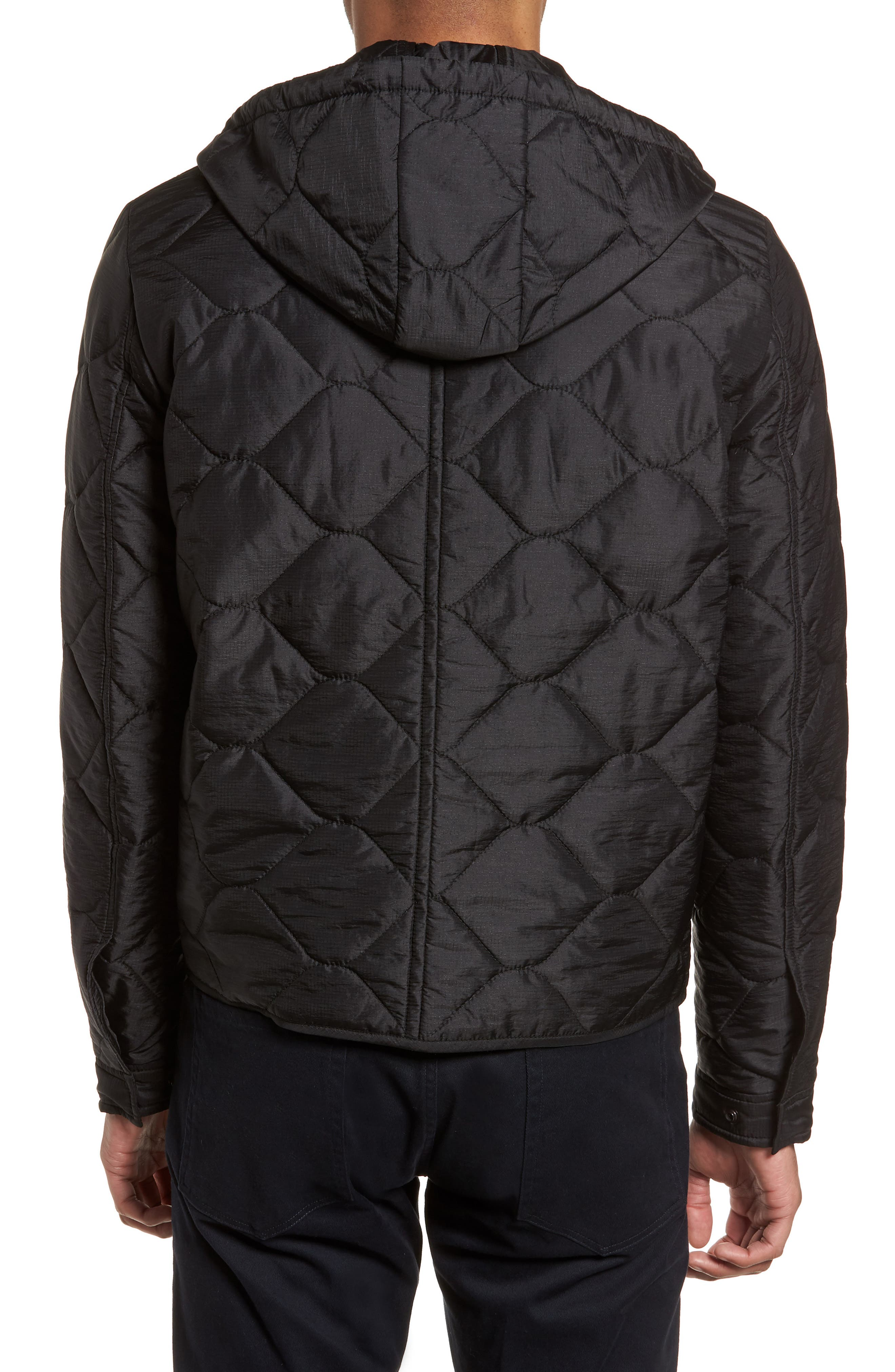Quilted Slim Fit Hooded Jacket,                             Alternate thumbnail 2, color,                             Black