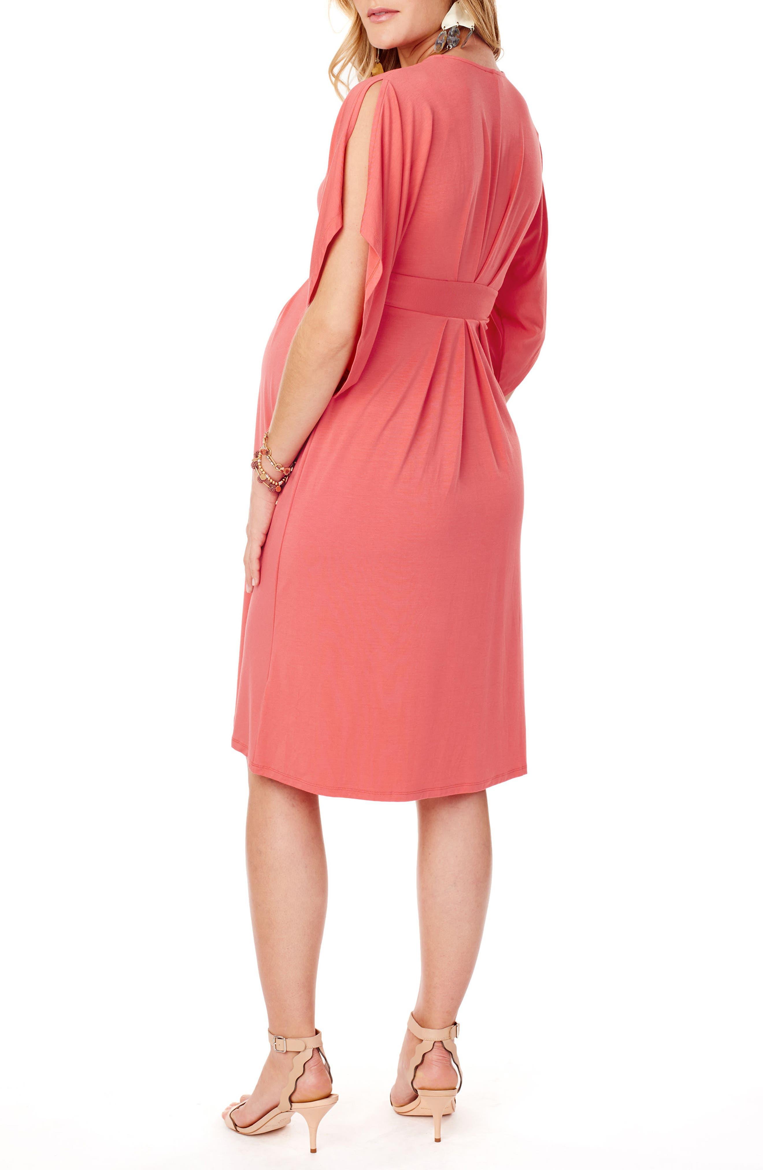 Split Kimono Sleeve Maternity Dress,                             Alternate thumbnail 2, color,                             Coral