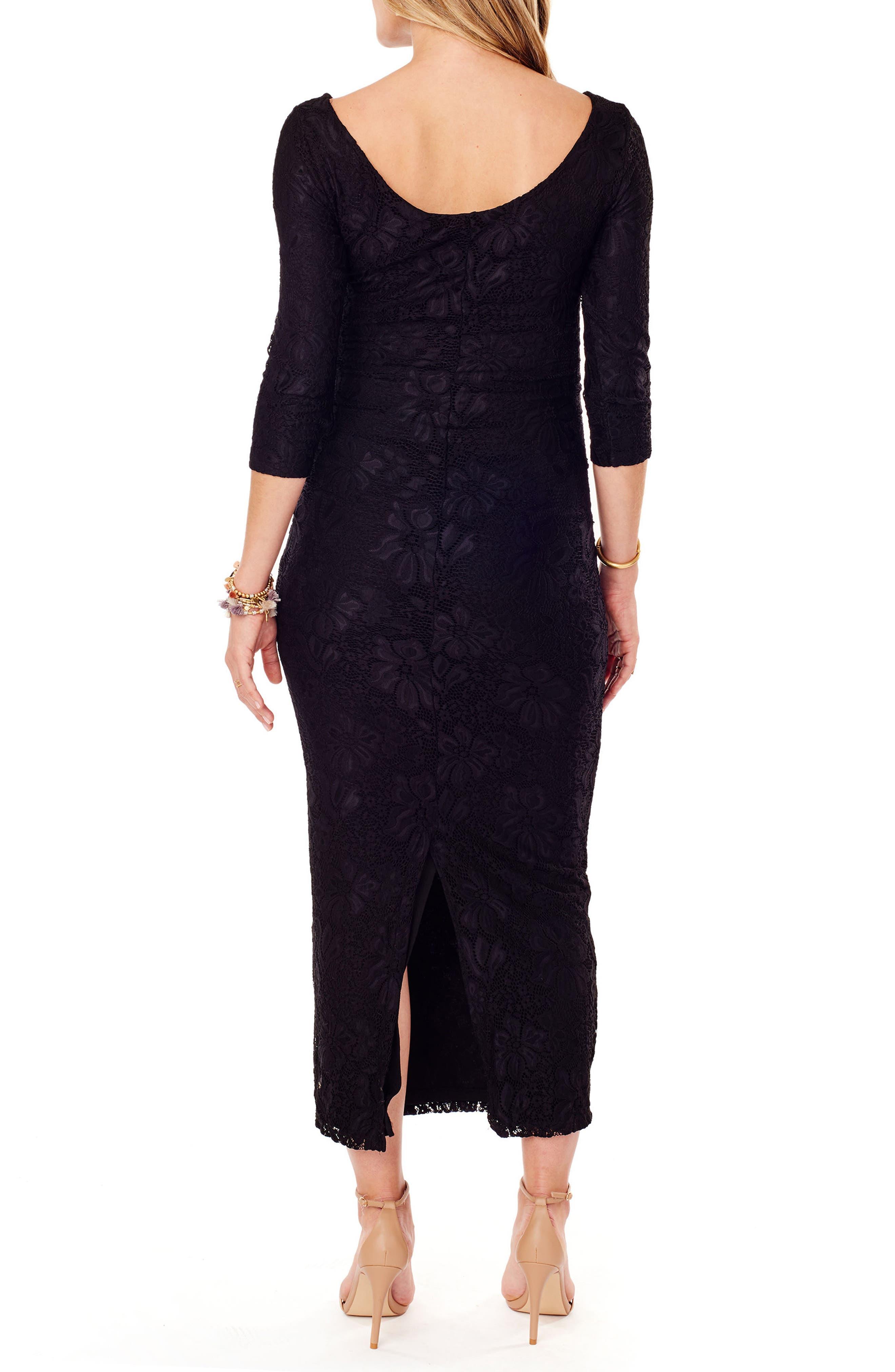 Lace Column Maternity Maxi Dress,                             Alternate thumbnail 2, color,                             Jet Black