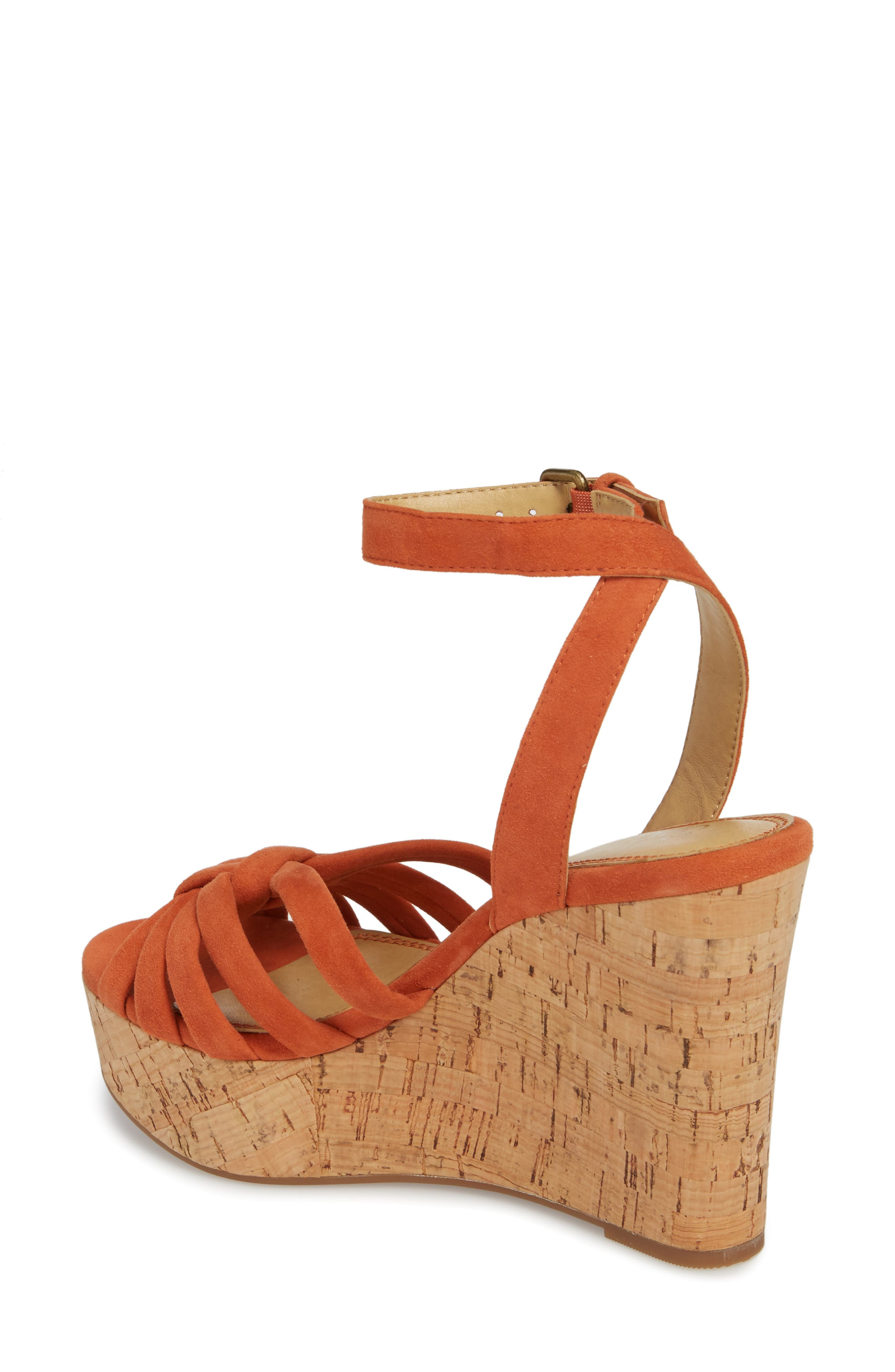 Fallon Wedge Sandal,                             Alternate thumbnail 2, color,                             Coral Suede
