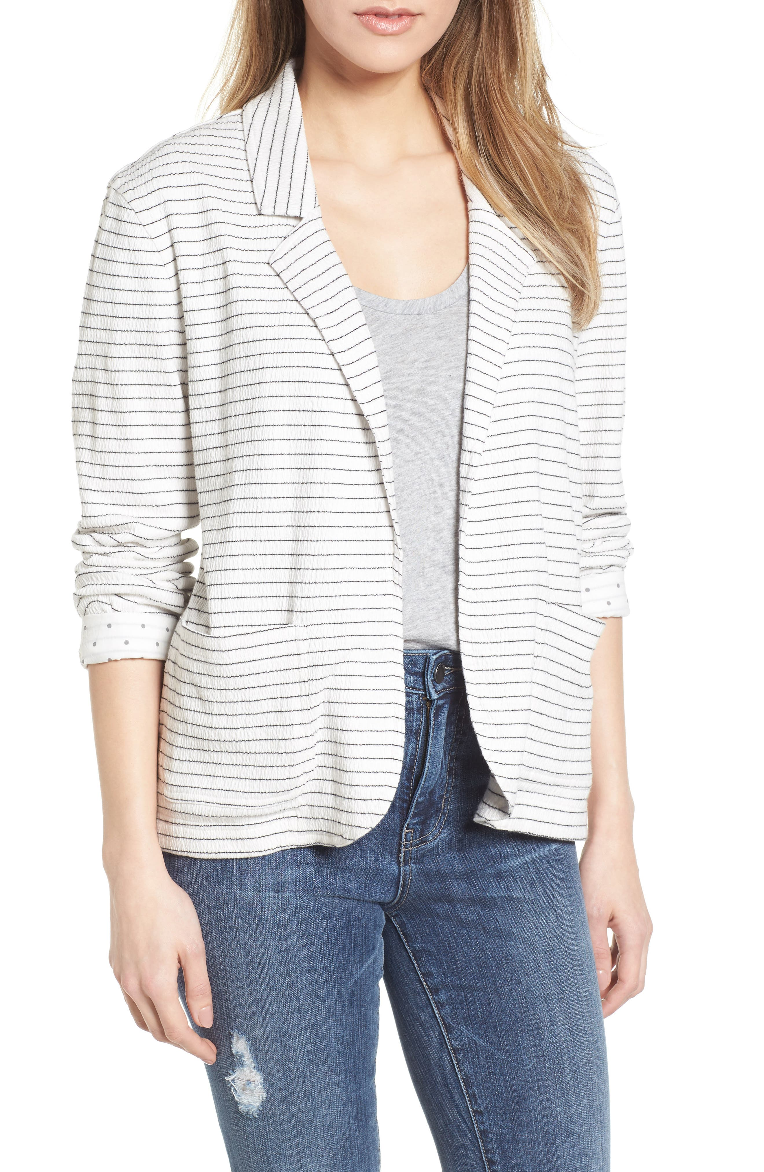 Crinkle Stretch Cotton Lined Blazer,                             Main thumbnail 1, color,                             Ivory- Black Stripe