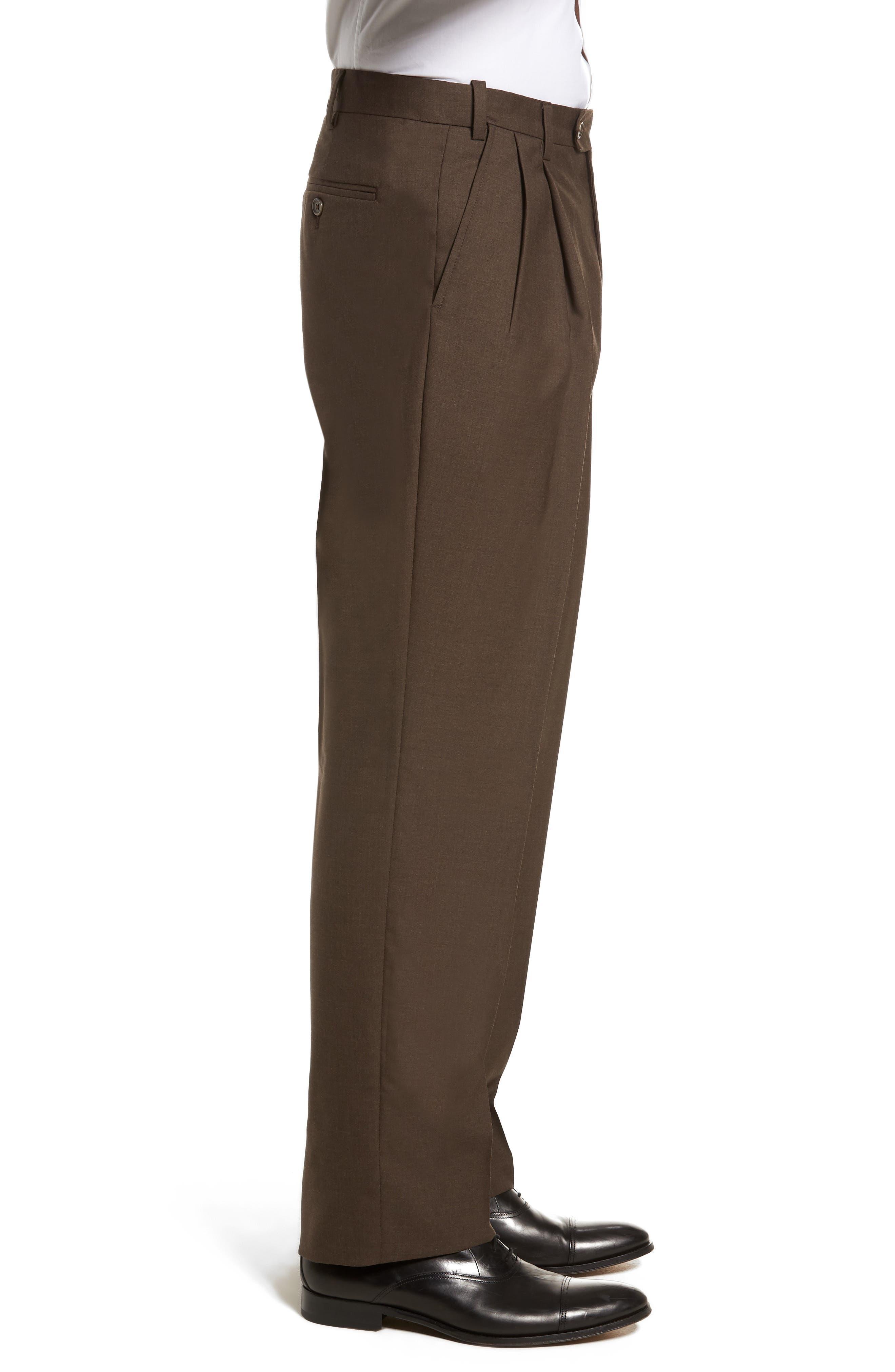 Self Sizer Waist Pleated Wool Gabardine Trousers,                             Alternate thumbnail 3, color,                             Brown
