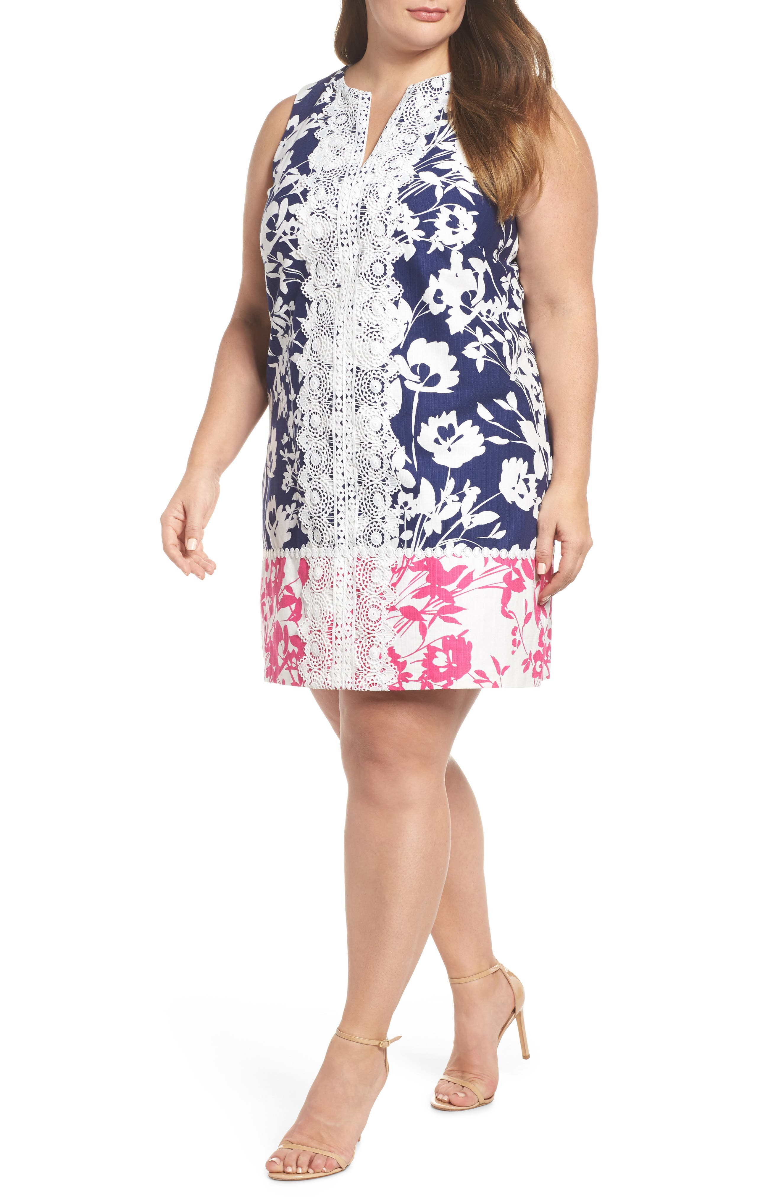 Lace Trim Two Tone Print Shift Dress,                             Main thumbnail 1, color,                             Navy/ Pink