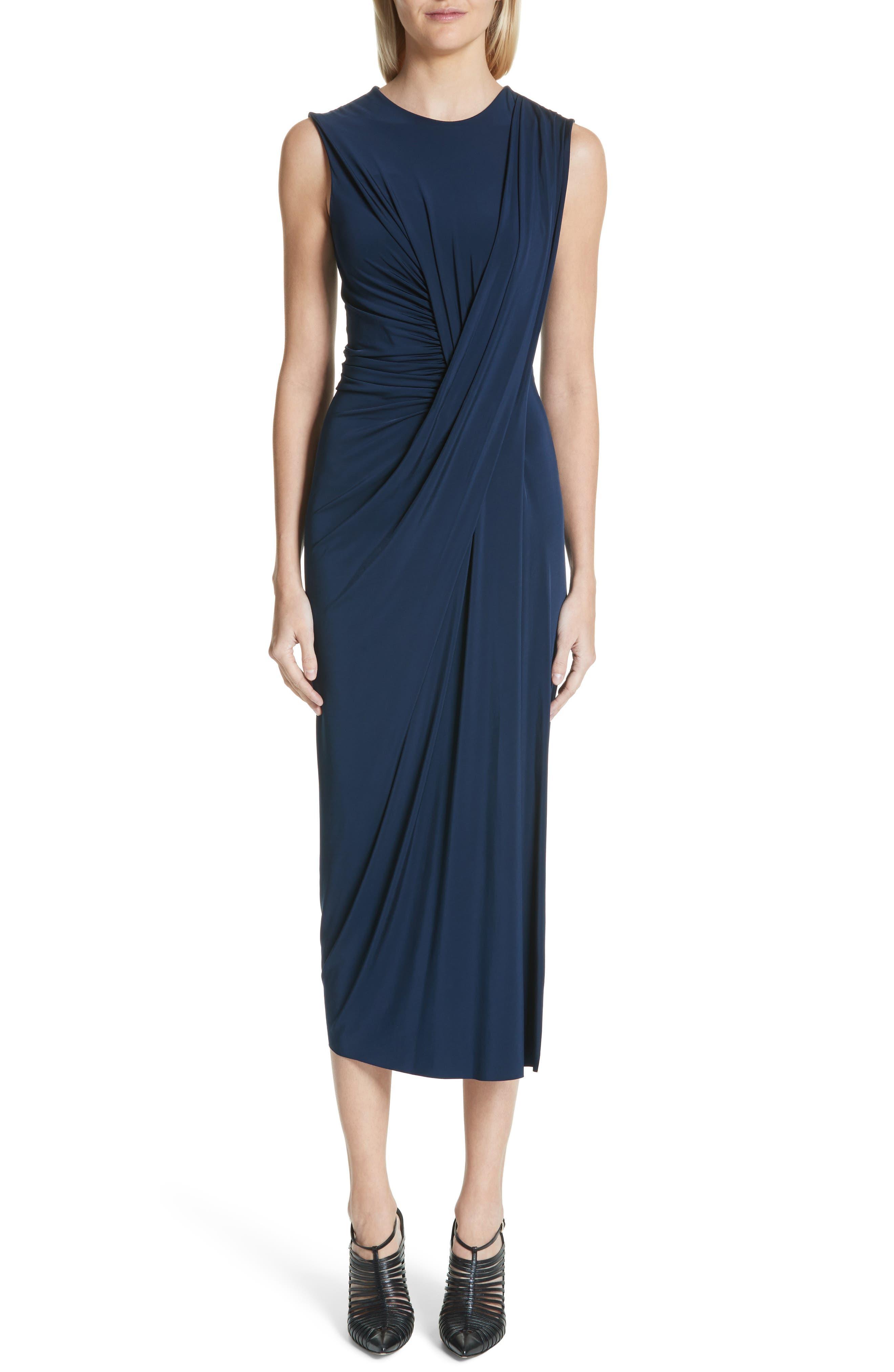 Draped Jersey Dress,                         Main,                         color, Navy