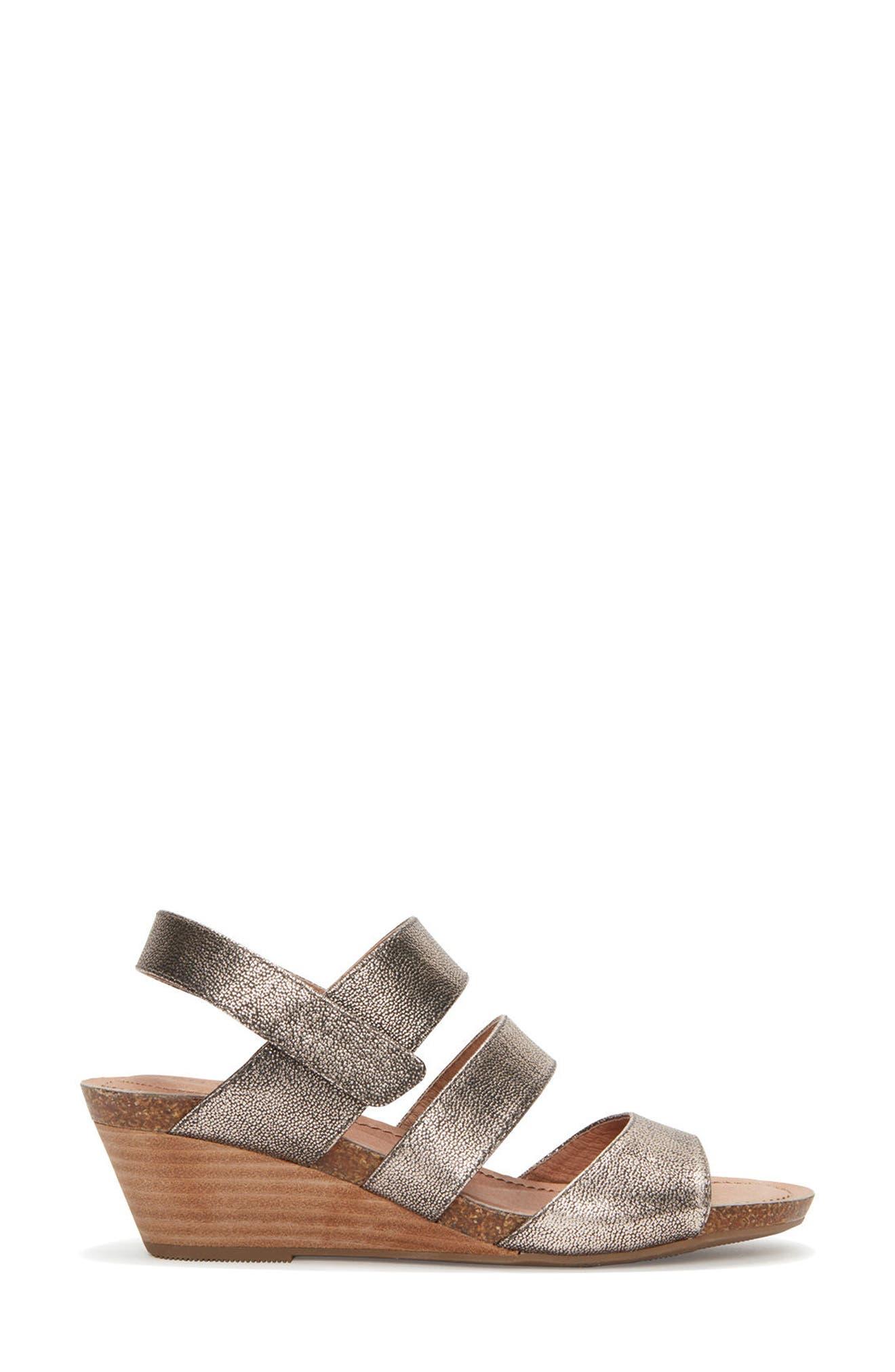 Adam Tucker Tora Wedge Sandal,                             Alternate thumbnail 3, color,                             Champagne Leather