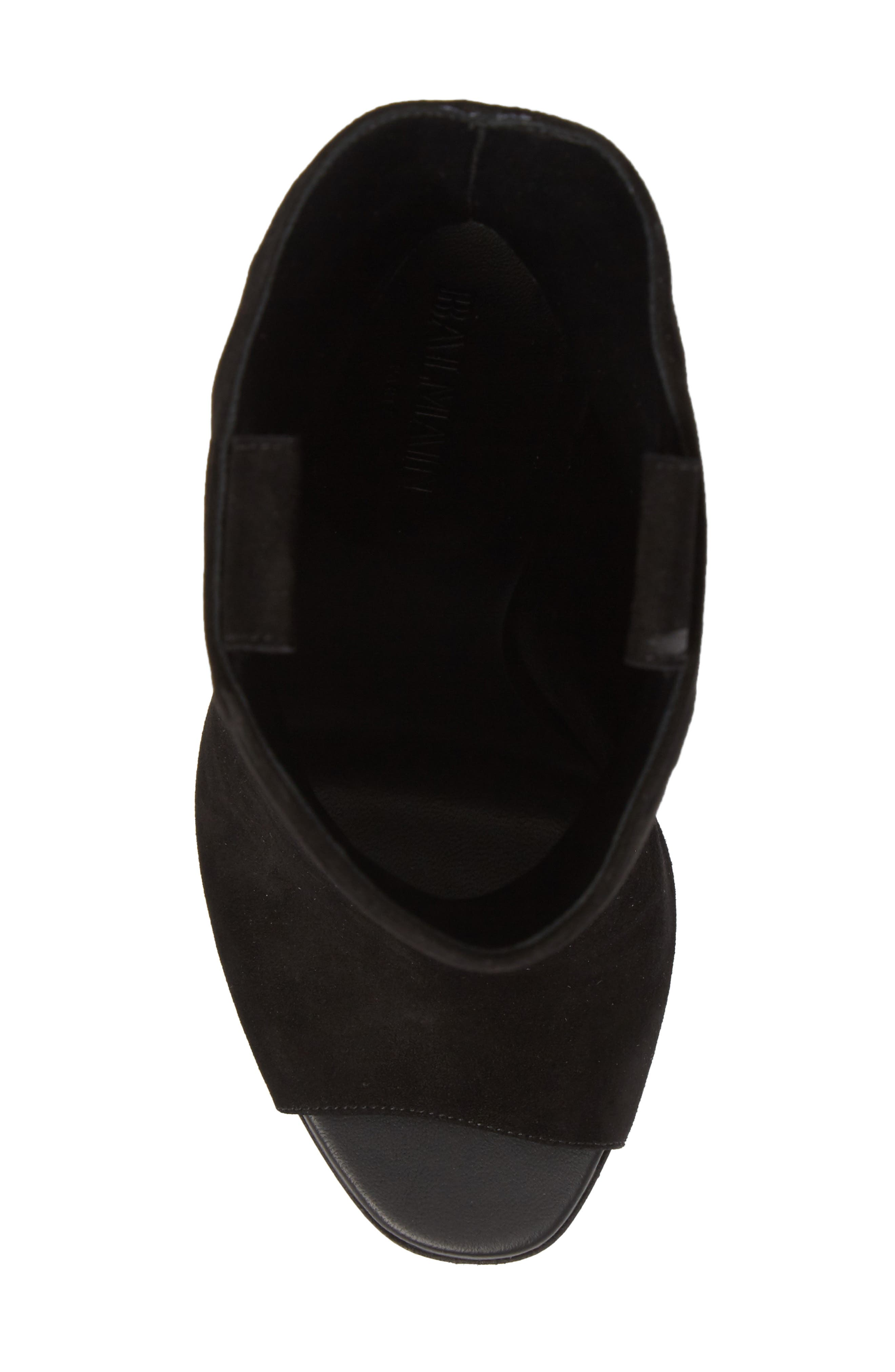 Clea Logo Embossed Bootie,                             Alternate thumbnail 5, color,                             Black