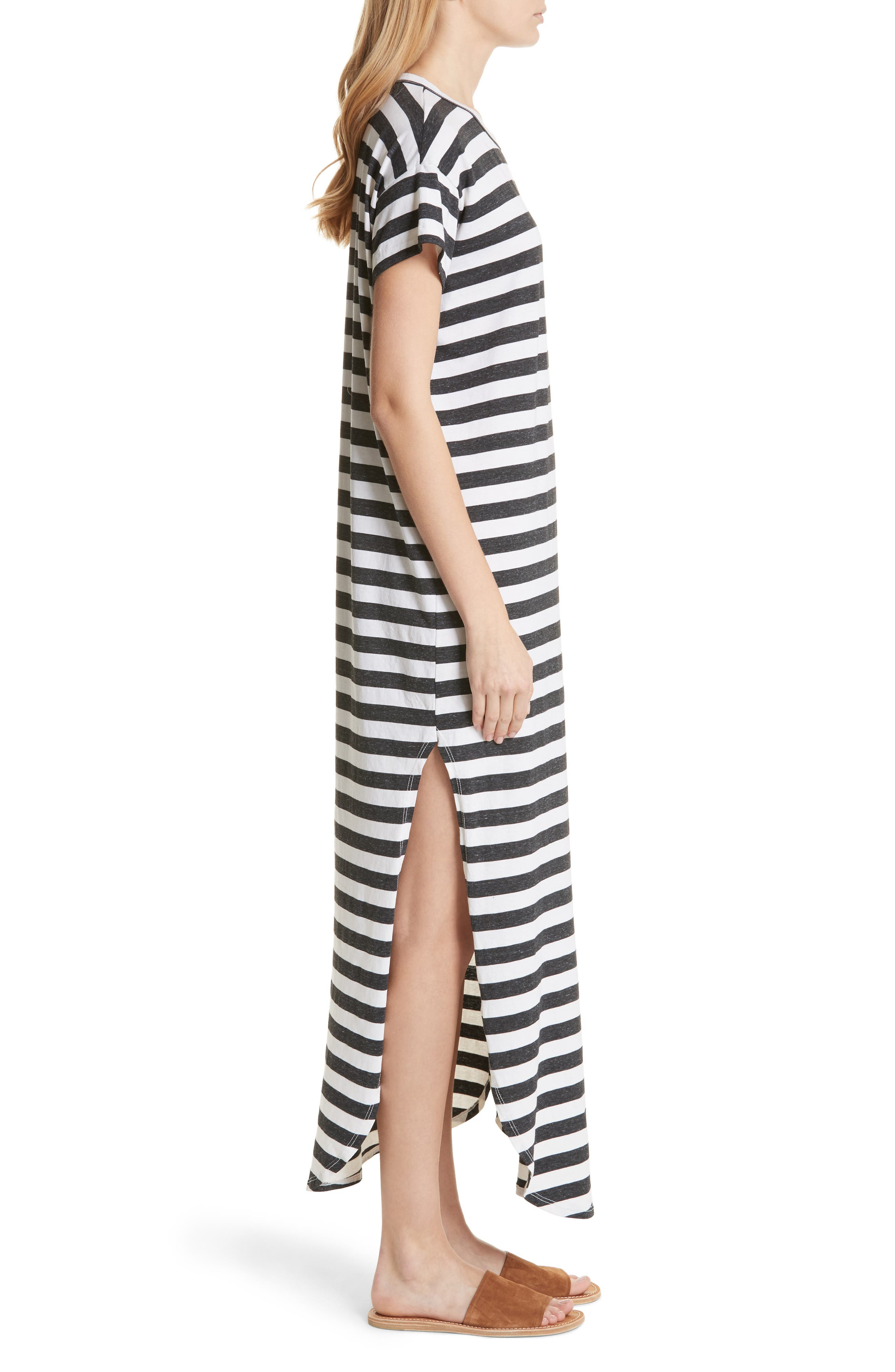The Knotted Tee Dress,                             Alternate thumbnail 4, color,                             Charcoal Stripe