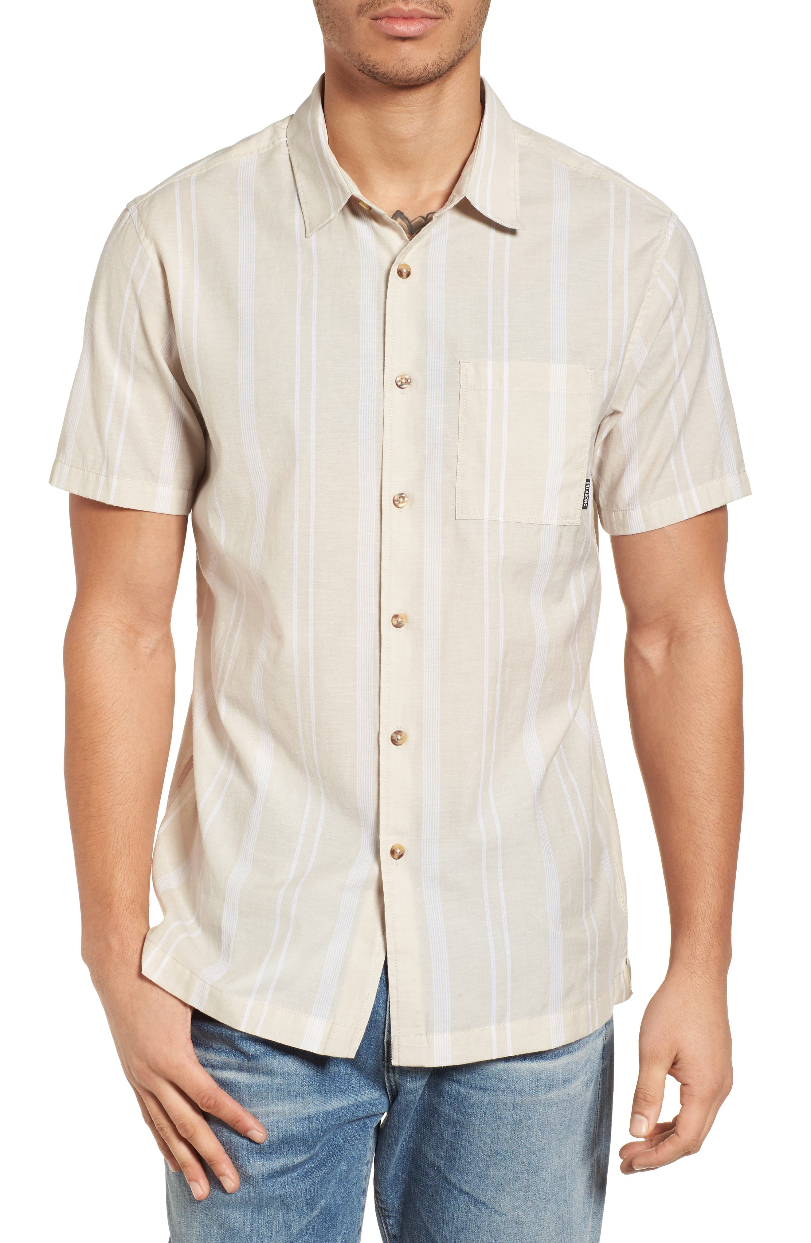 Donny Short Sleeve Shirt,                             Main thumbnail 1, color,                             Sand