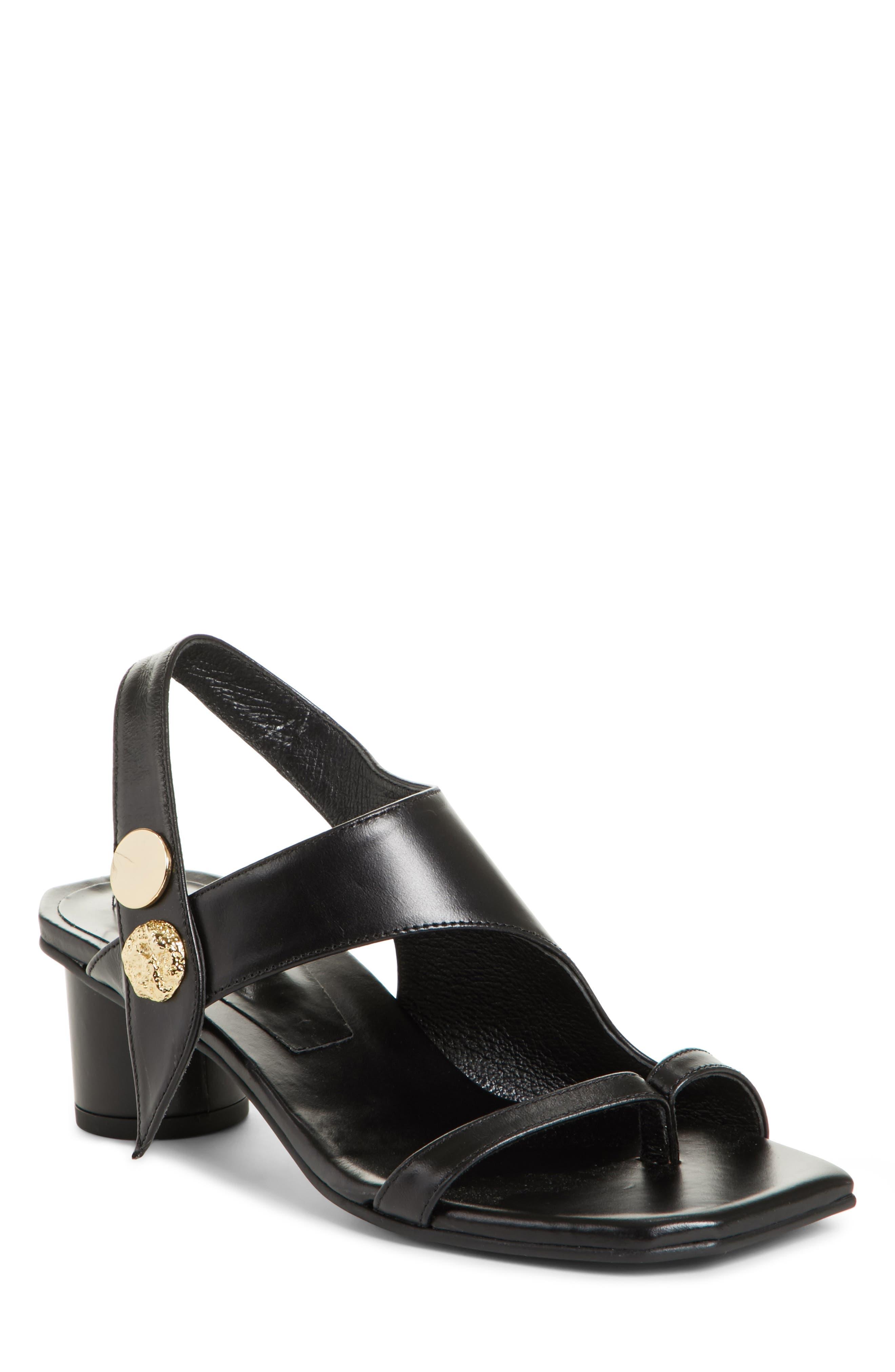 Embellished Leather Sandal,                         Main,                         color, Black