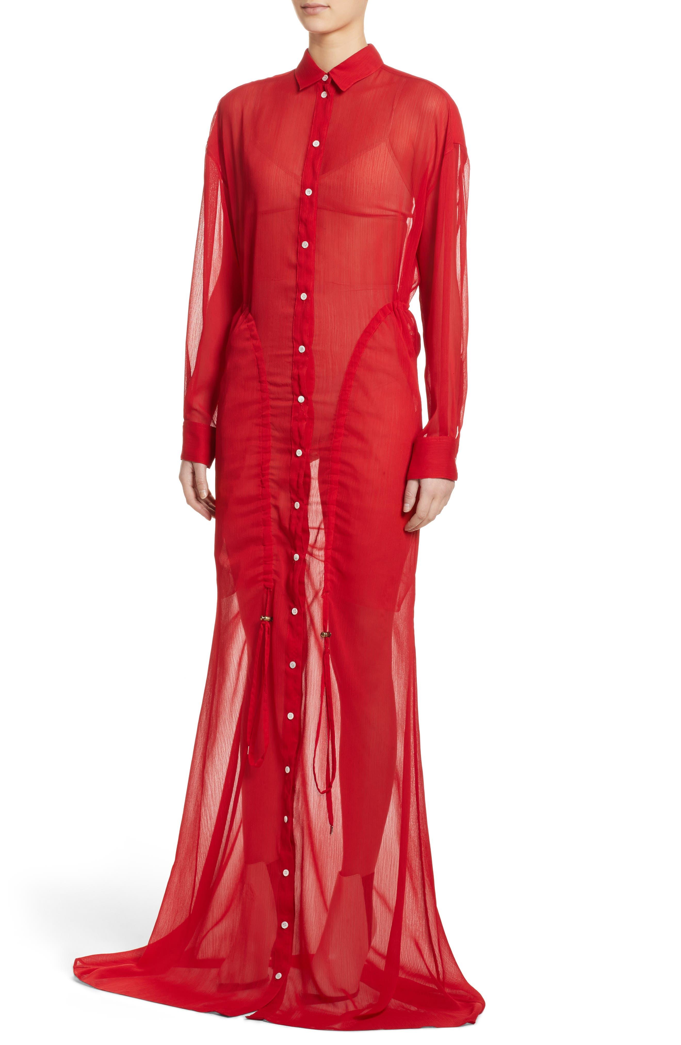 Sheer Drawstring Shirtdress,                             Alternate thumbnail 5, color,                             Red