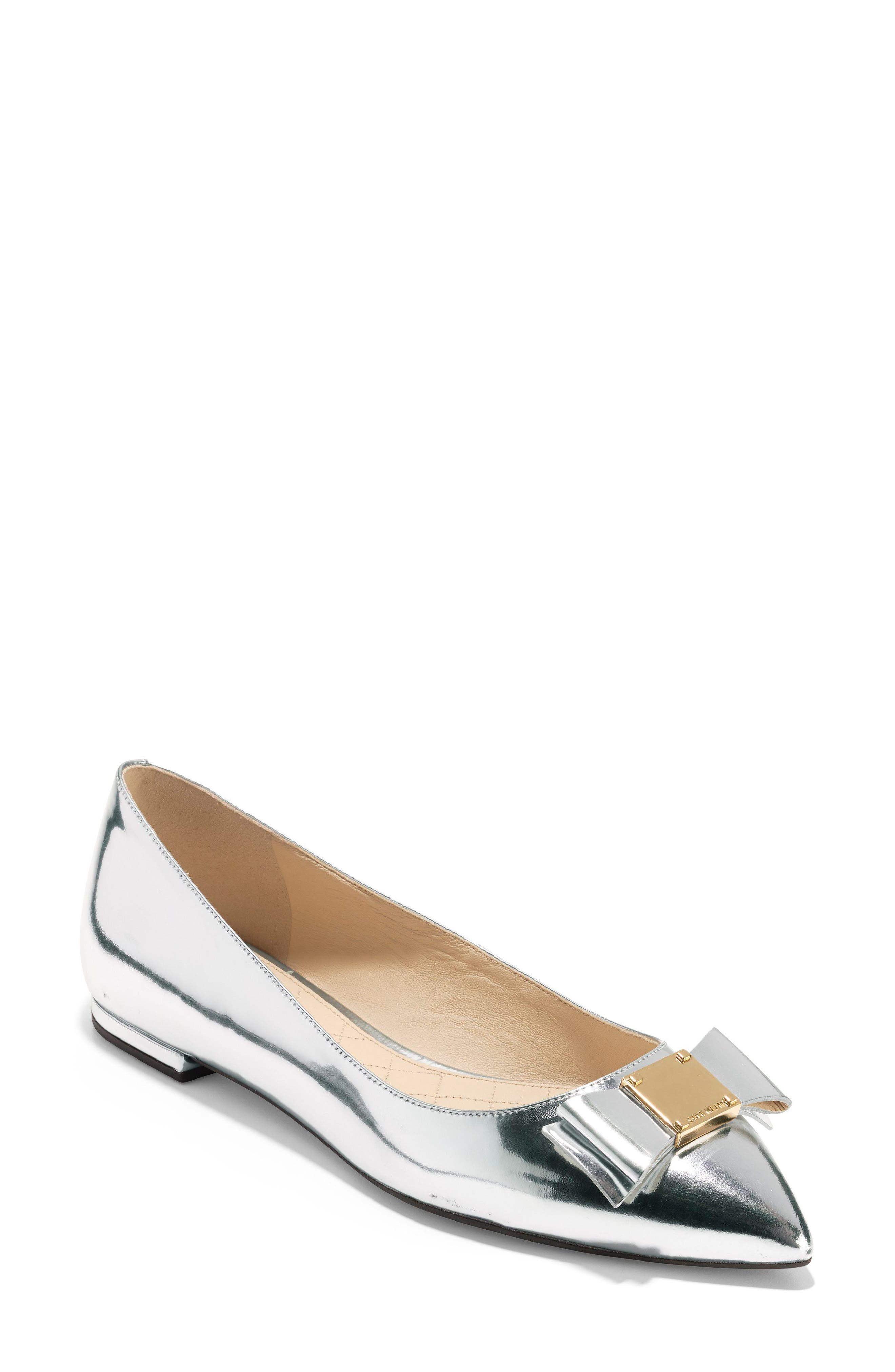 Tali Bow Skimmer Flat,                         Main,                         color, Argento Leather