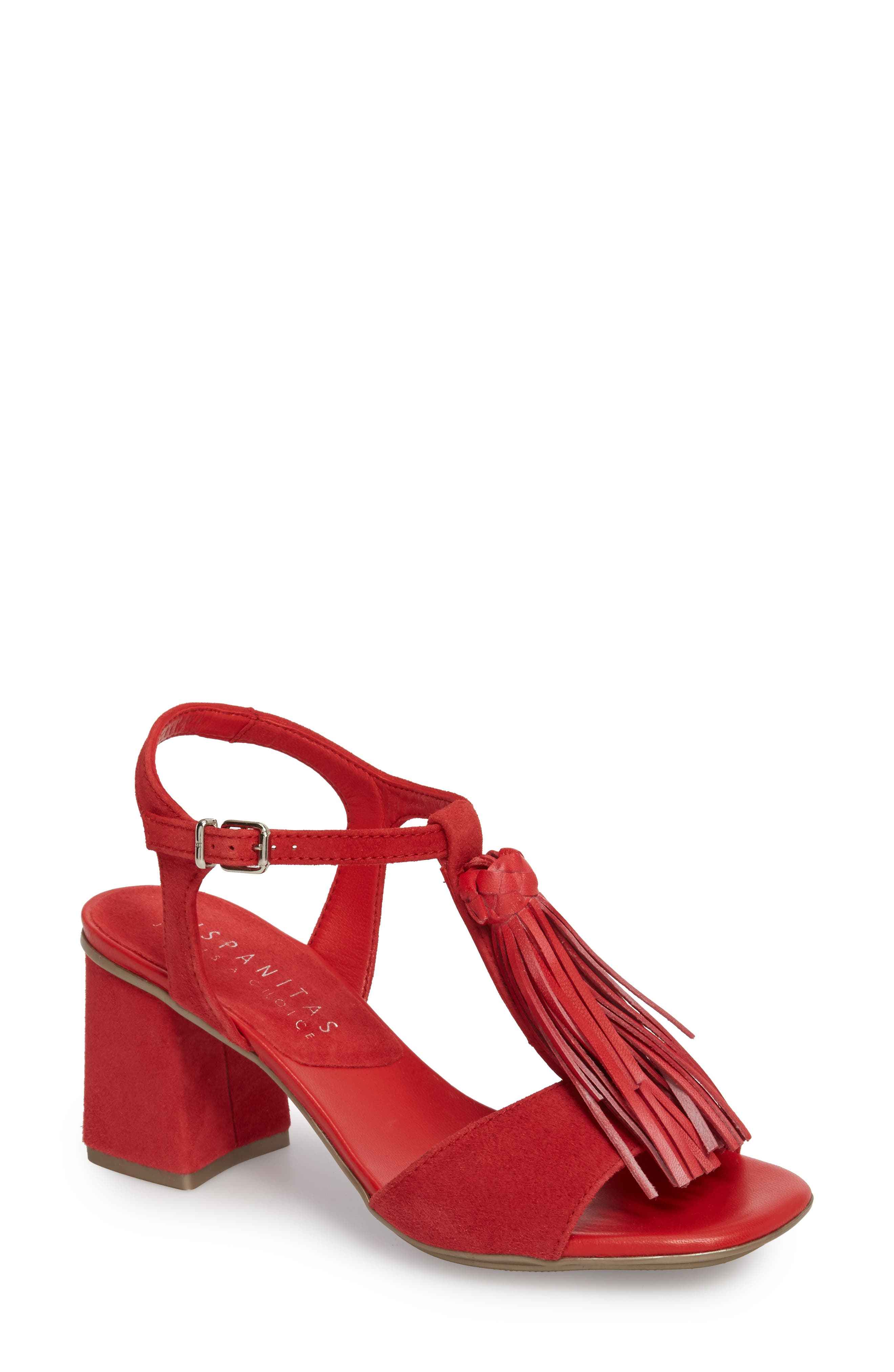 Schulyer T-Strap Sandal,                         Main,                         color, Rubi Leather