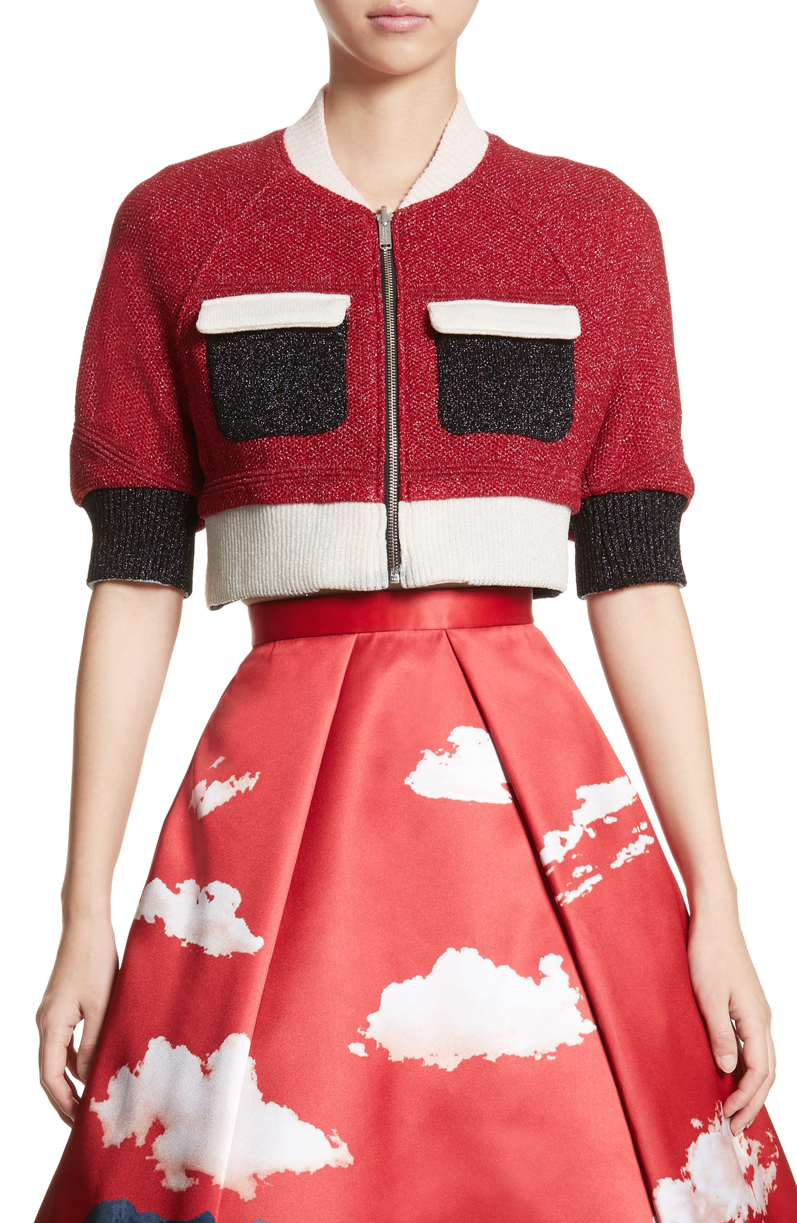 Reversible Crop Jacket,                             Main thumbnail 1, color,                             Brown/ Red