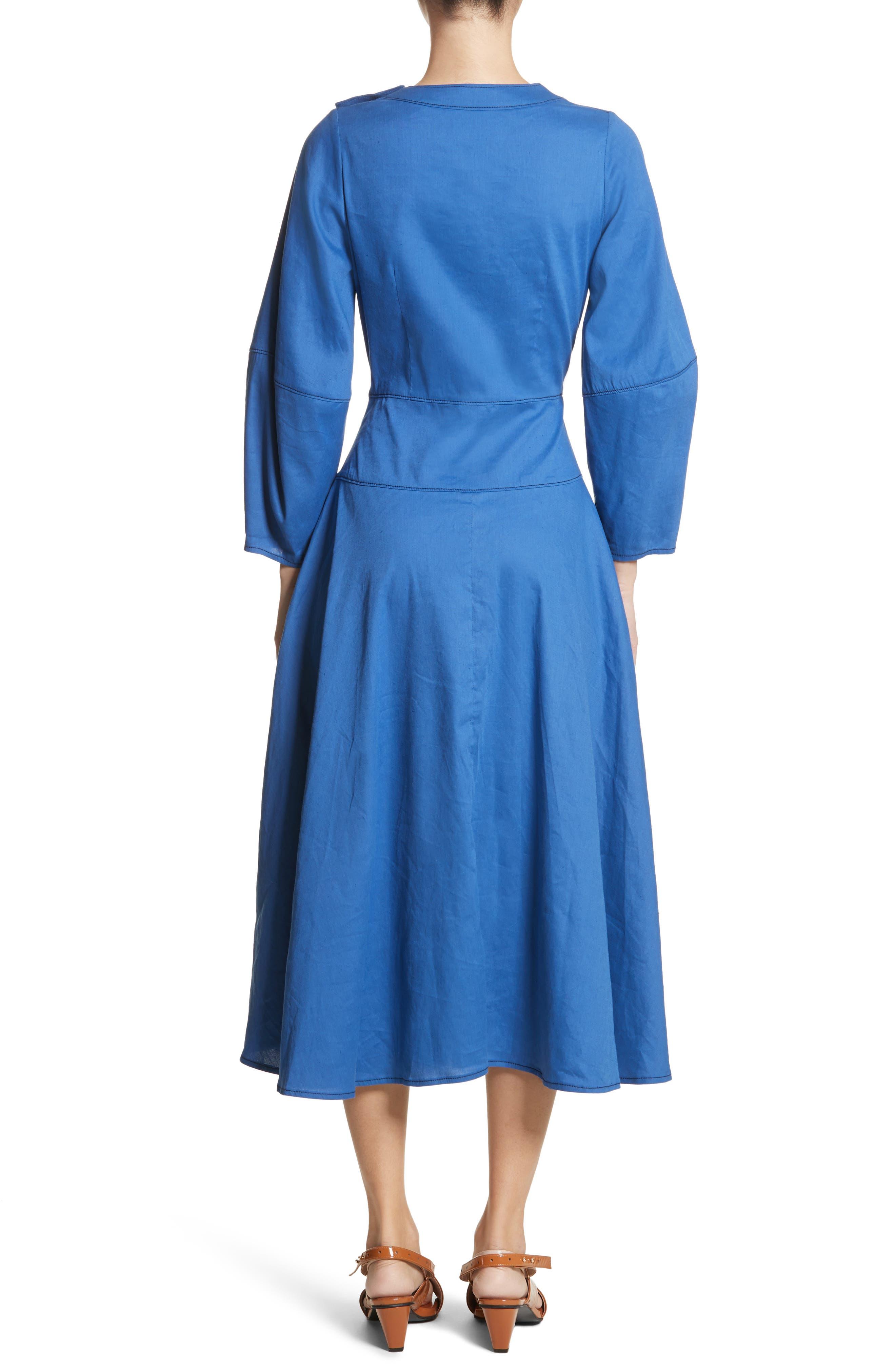 Michaela Linen Dress,                             Alternate thumbnail 2, color,                             Linen Blue