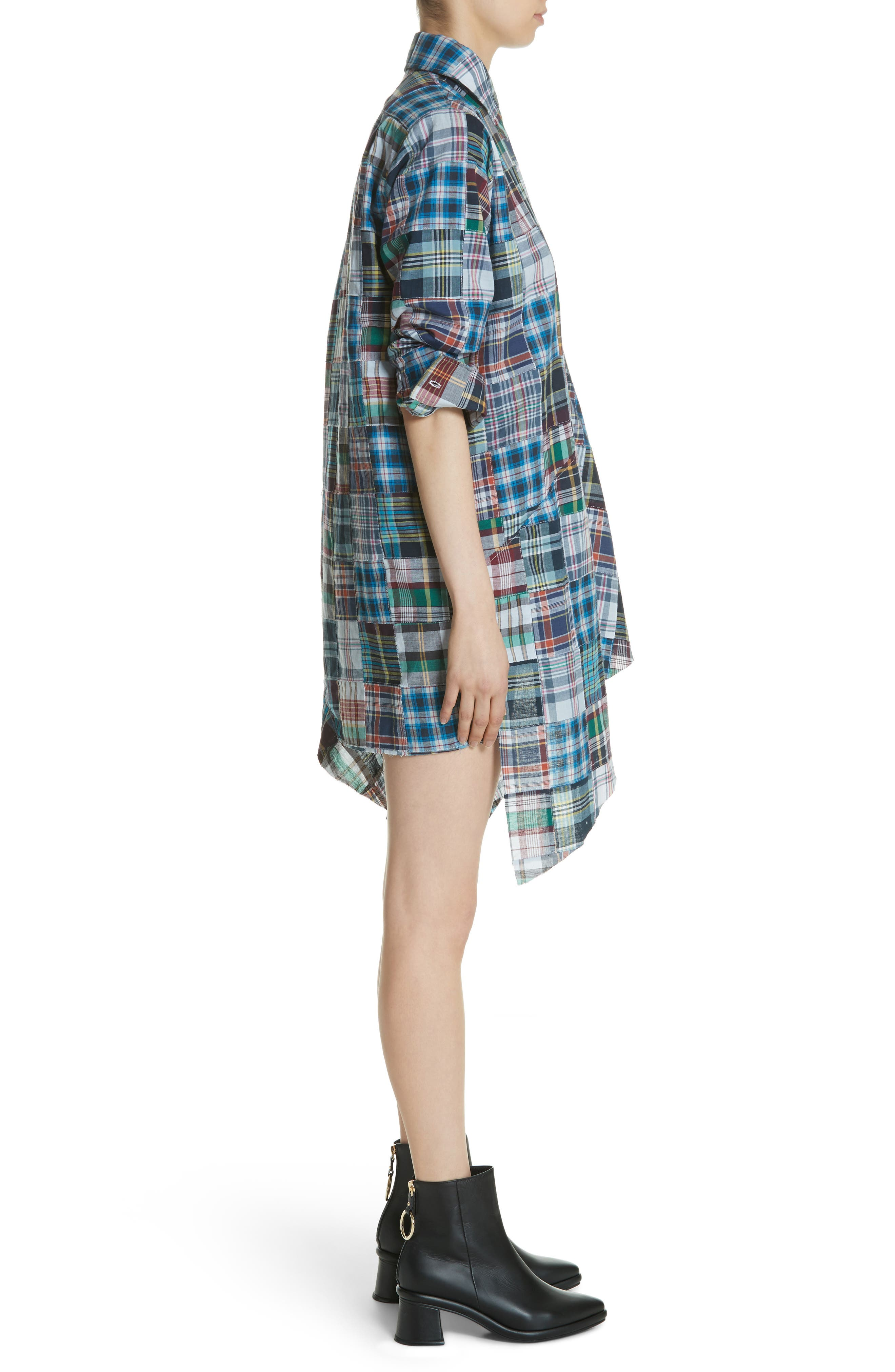 Marques'Almeida Asymmetric Patchwork Plaid Shirtdress,                             Alternate thumbnail 3, color,                             Navy/Multi
