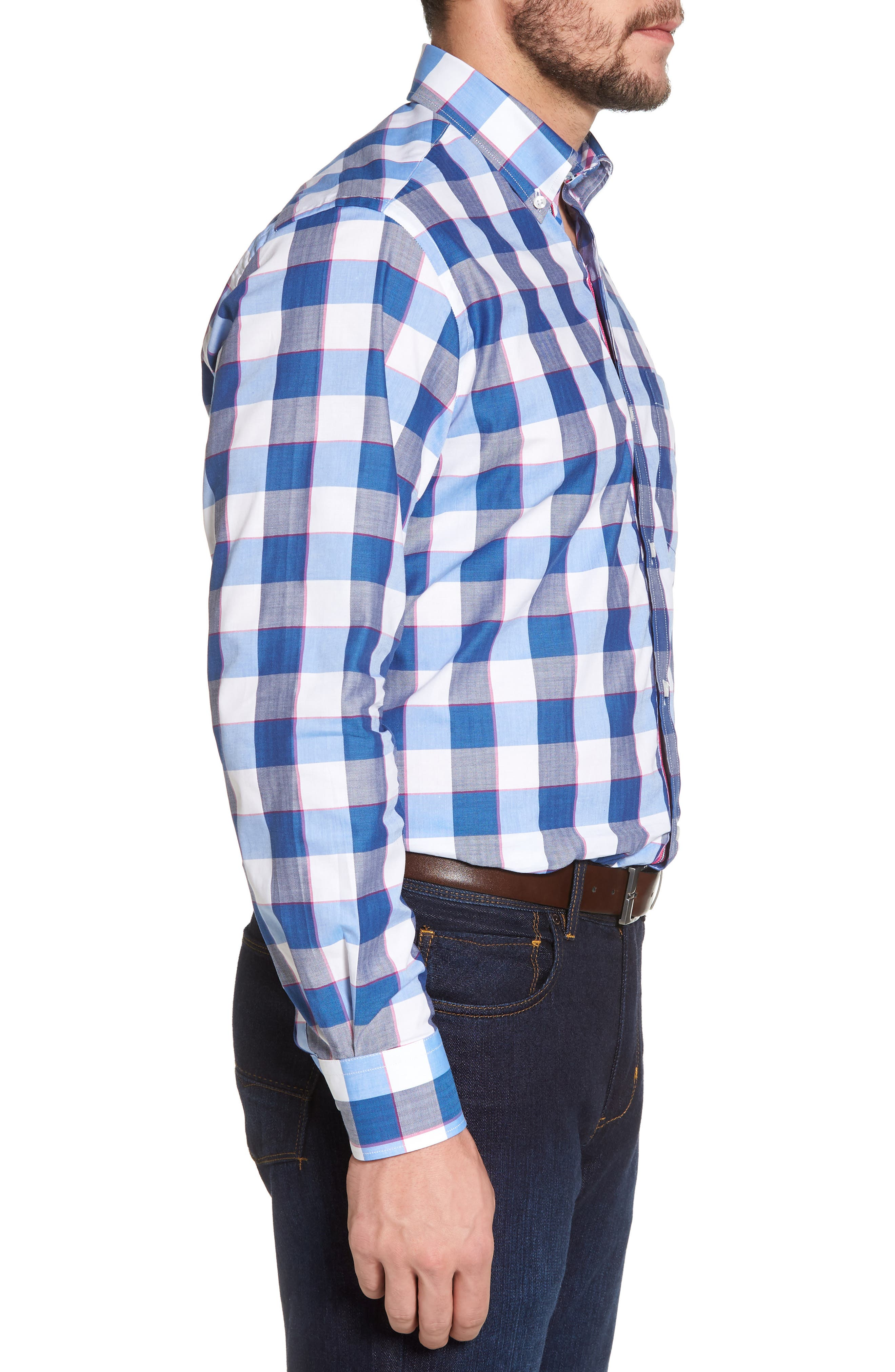Jeremy Regular Fit Check Sport Shirt,                             Alternate thumbnail 3, color,                             Navy