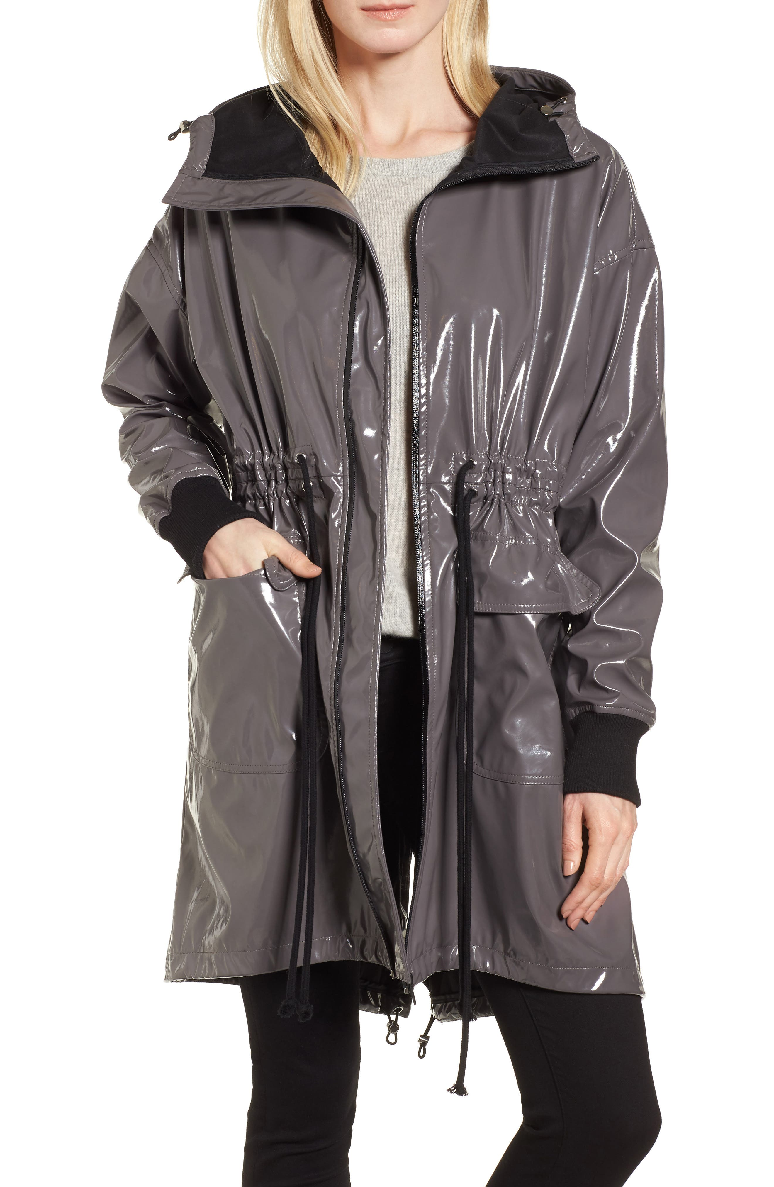 Fawn Patent Hooded Raincoat,                             Main thumbnail 1, color,                             Steel