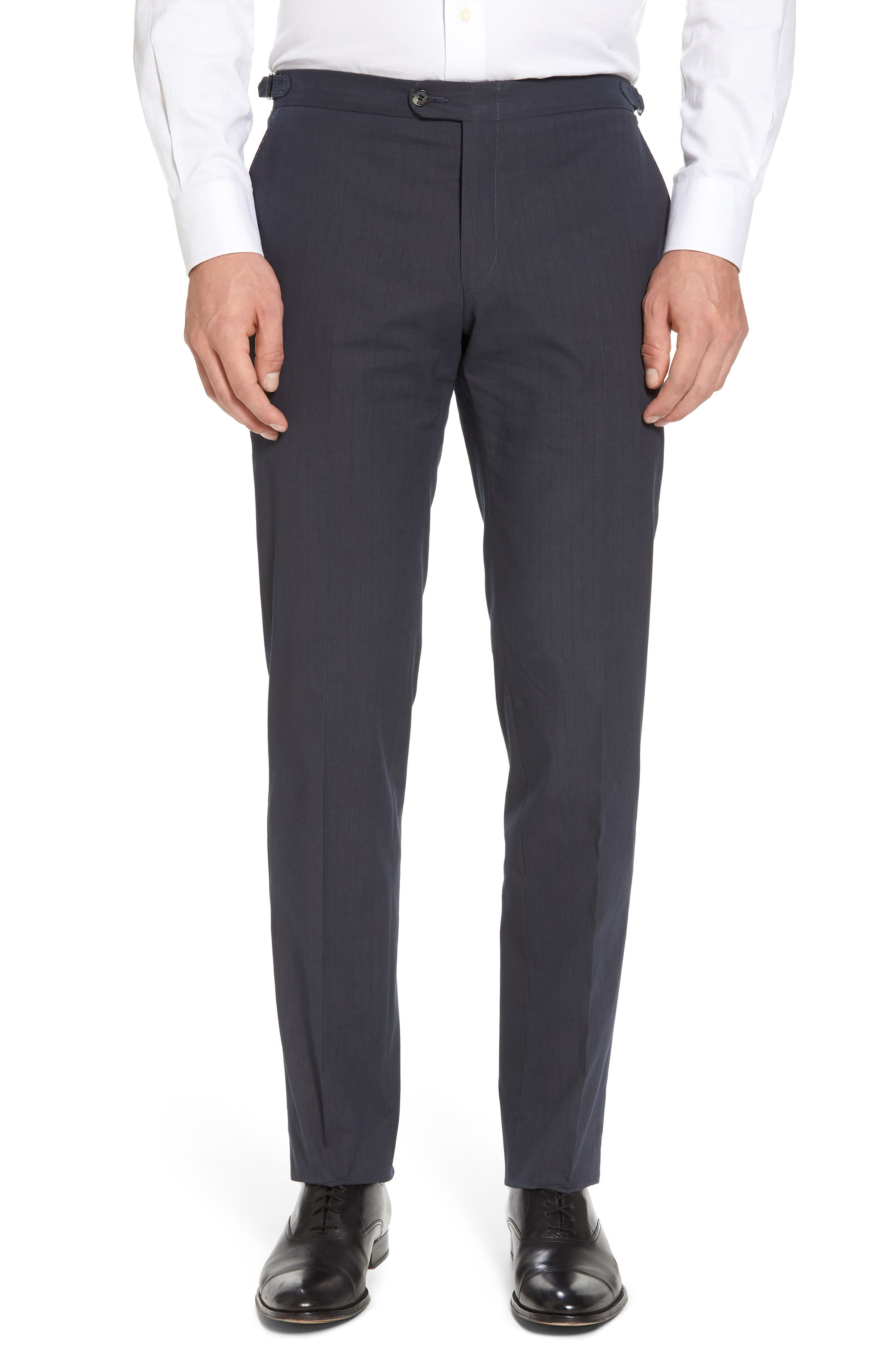 Flat Front Stripe Stretch Cotton Trousers,                         Main,                         color, Navy