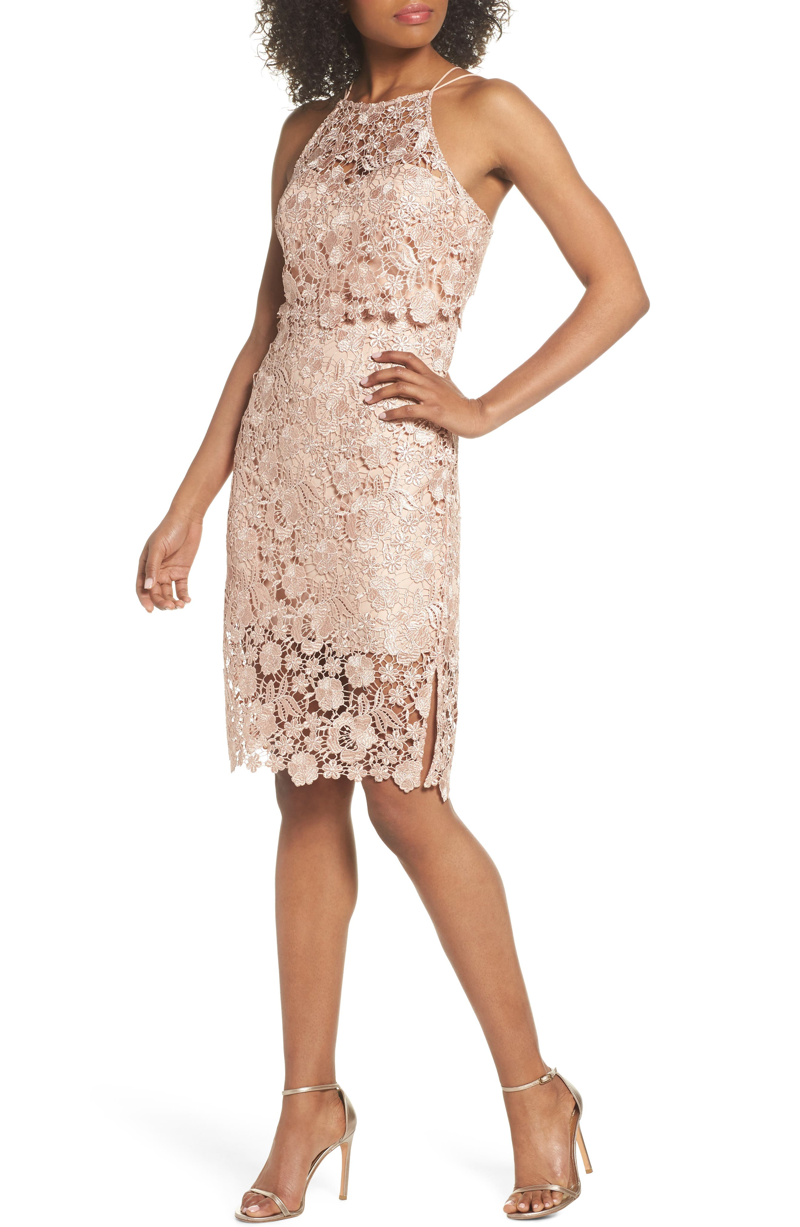 Freya Lace Sheath Dress,                             Main thumbnail 1, color,                             Cameo Pink