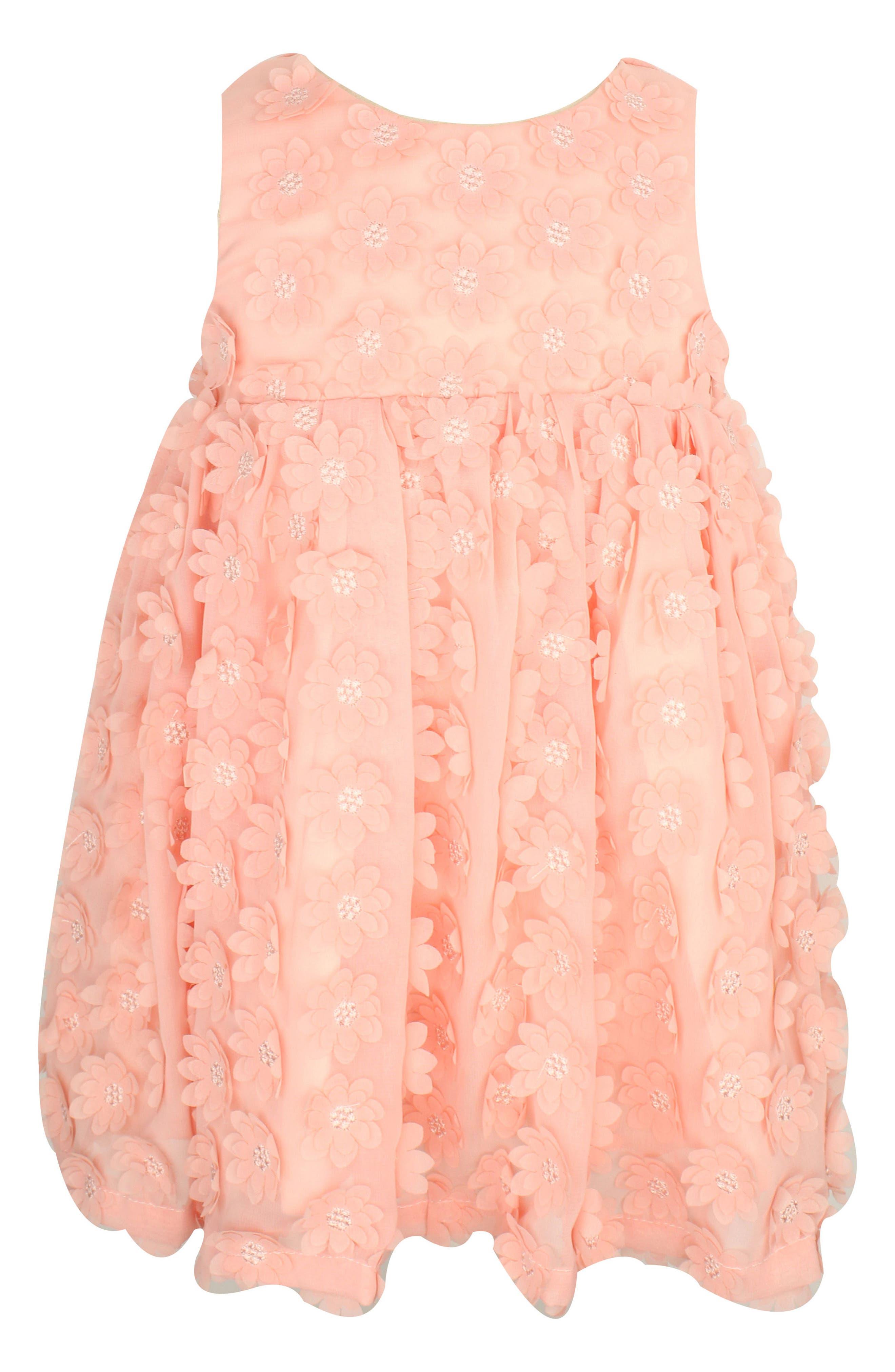 Flower Appliqué Dress,                         Main,                         color, Peach