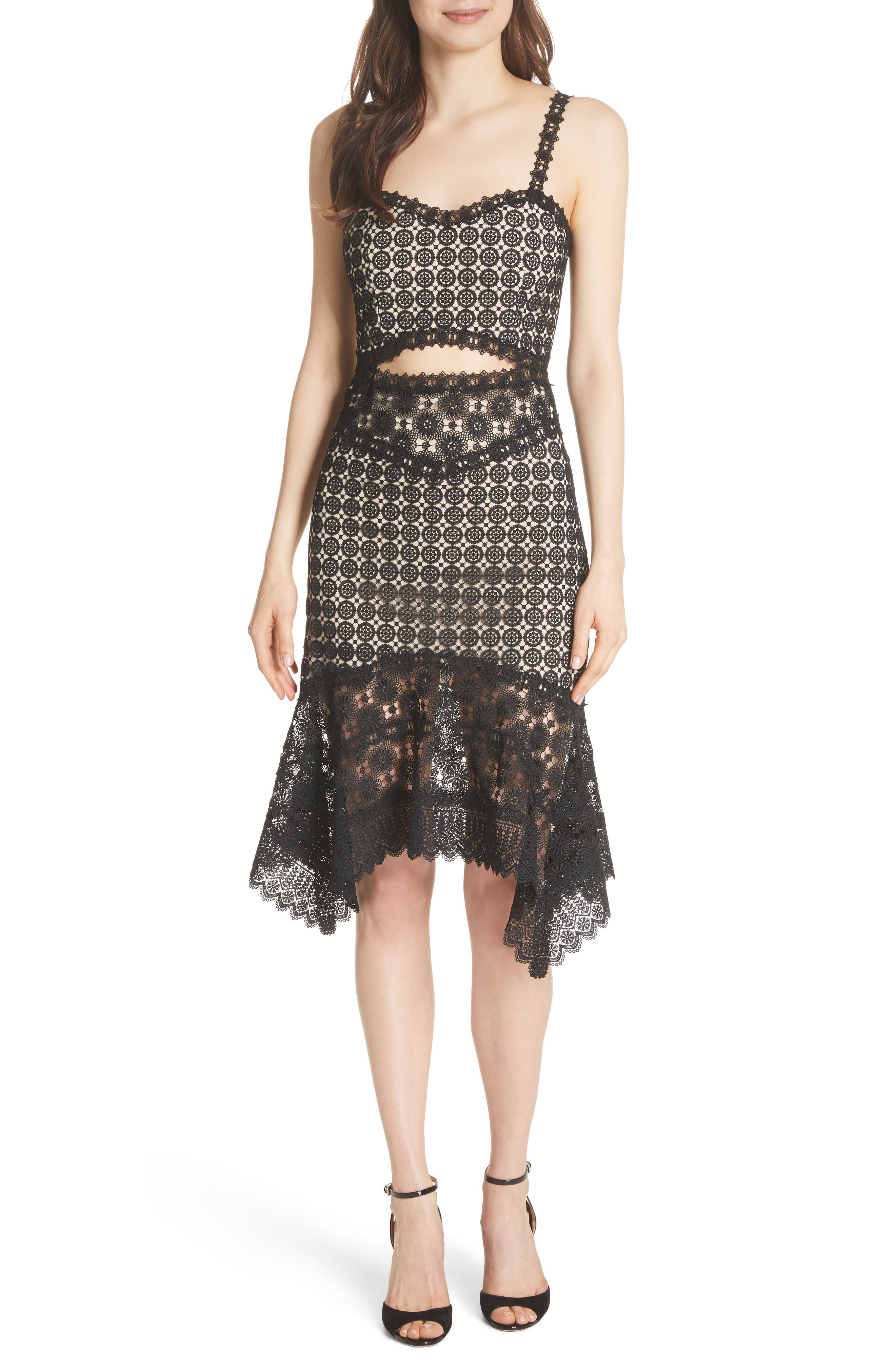 Tamika Handkerchief Lace Dress,                         Main,                         color, Black/ Sesame