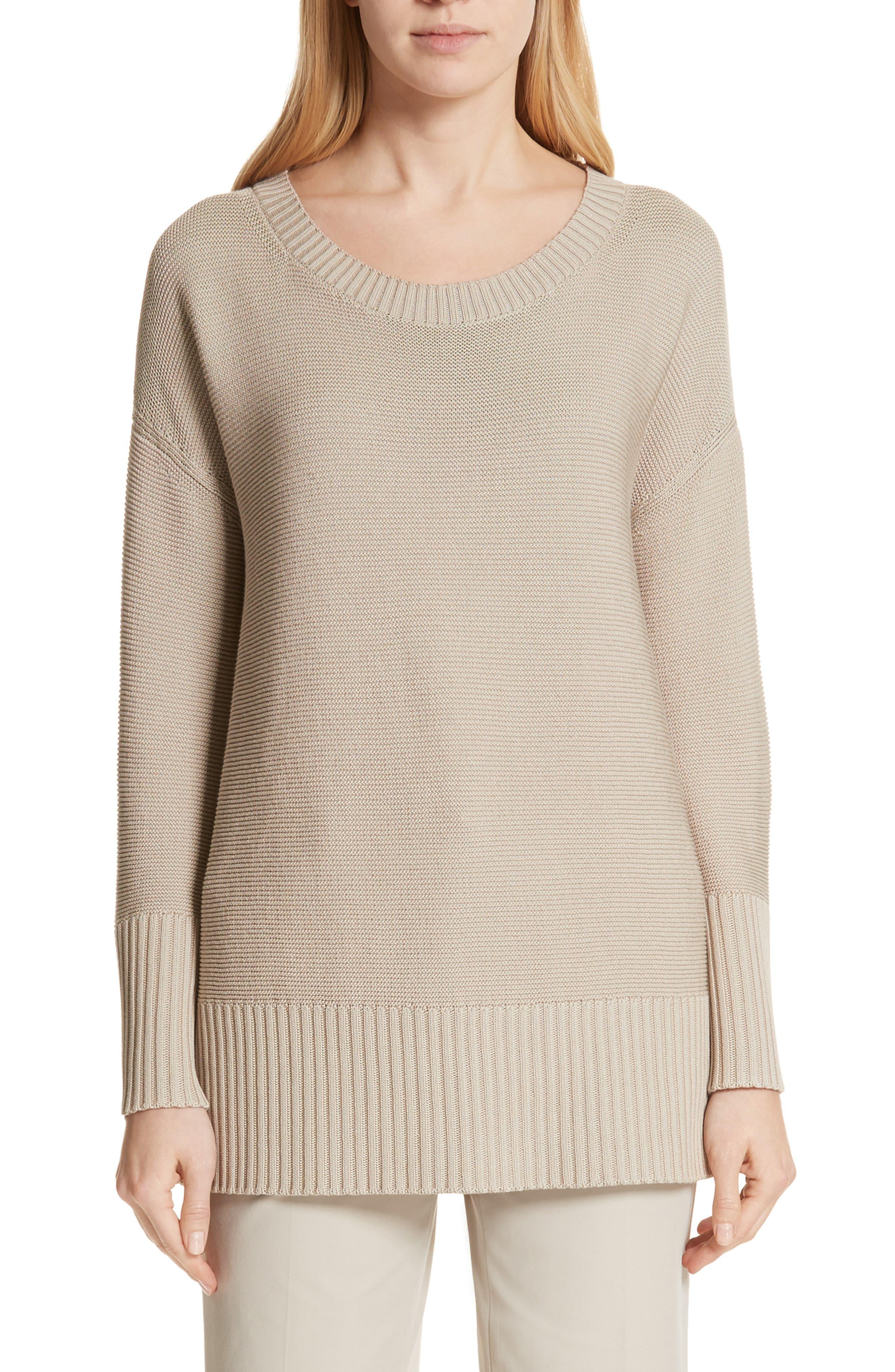 Cotton & Silk Sweater,                             Main thumbnail 1, color,                             Khaki