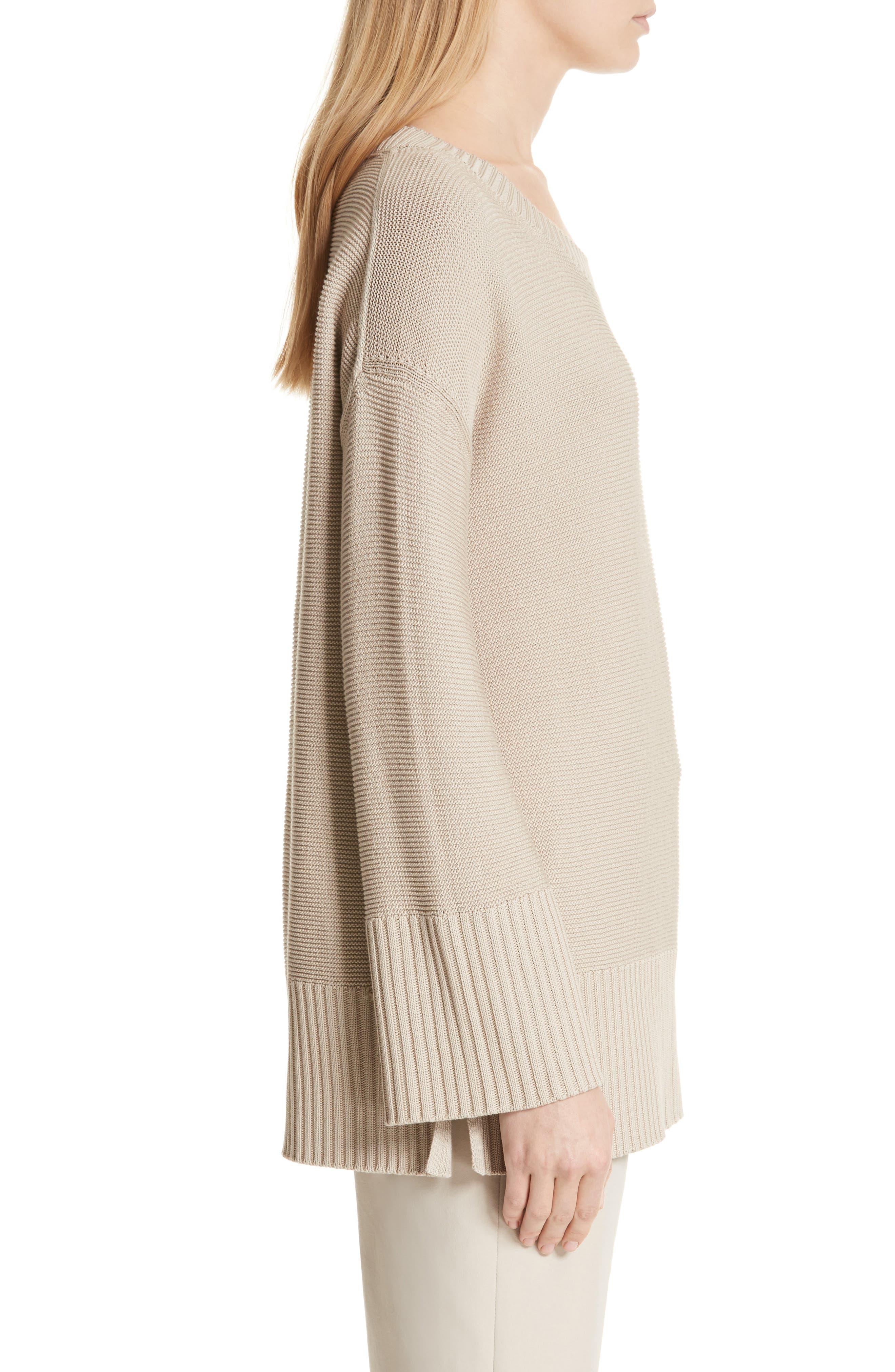 Cotton & Silk Sweater,                             Alternate thumbnail 3, color,                             Khaki