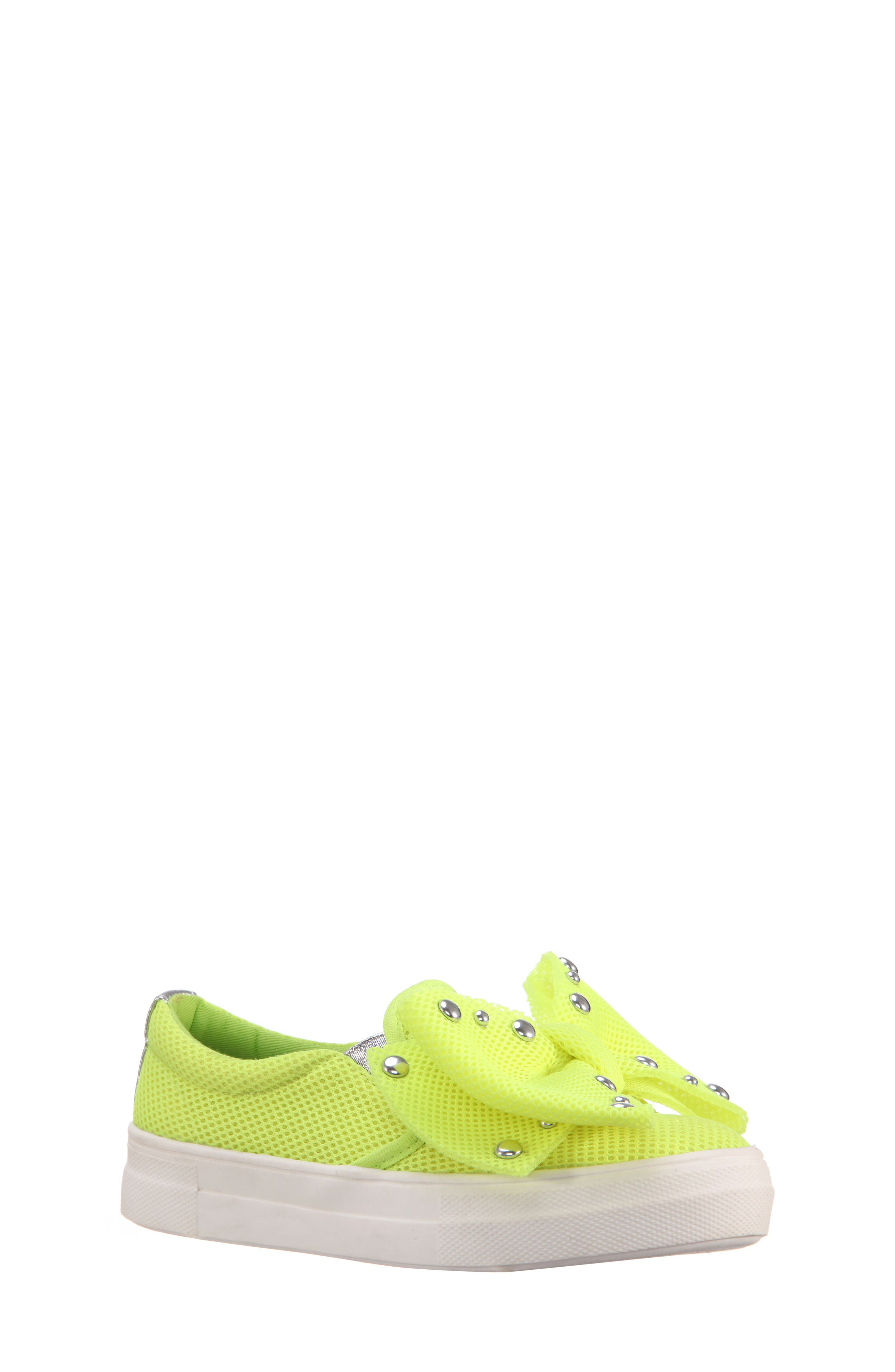 Mary Bow Slip-On Sneaker,                             Main thumbnail 1, color,                             Neon Yellow Mesh