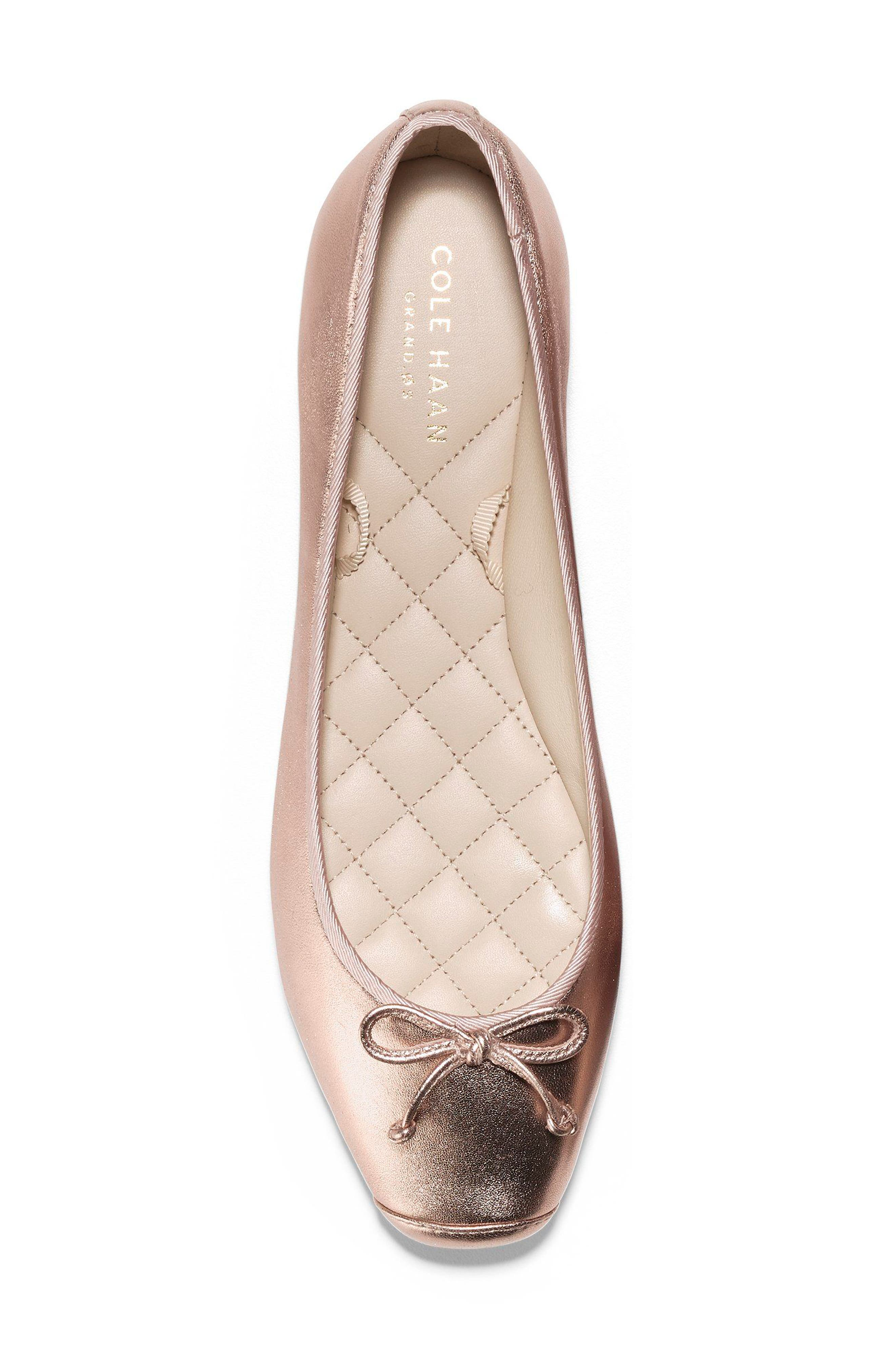 Downtown Ankle Wrap Ballet Flat,                             Alternate thumbnail 5, color,                             Rose Gold Leather