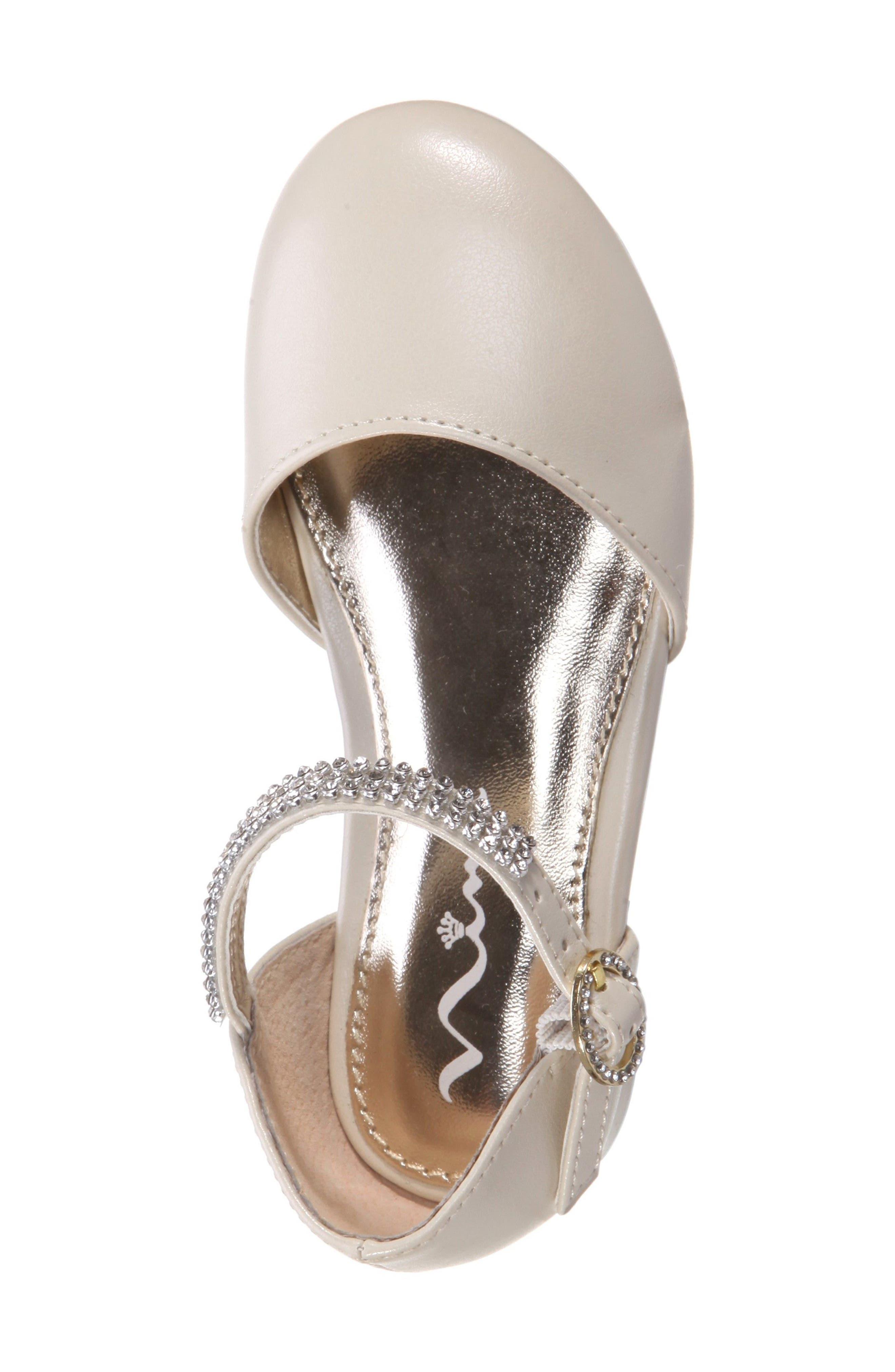 Cara Crystal Embellished d'Orsay Sandal,                             Alternate thumbnail 5, color,                             Bone Pearlized
