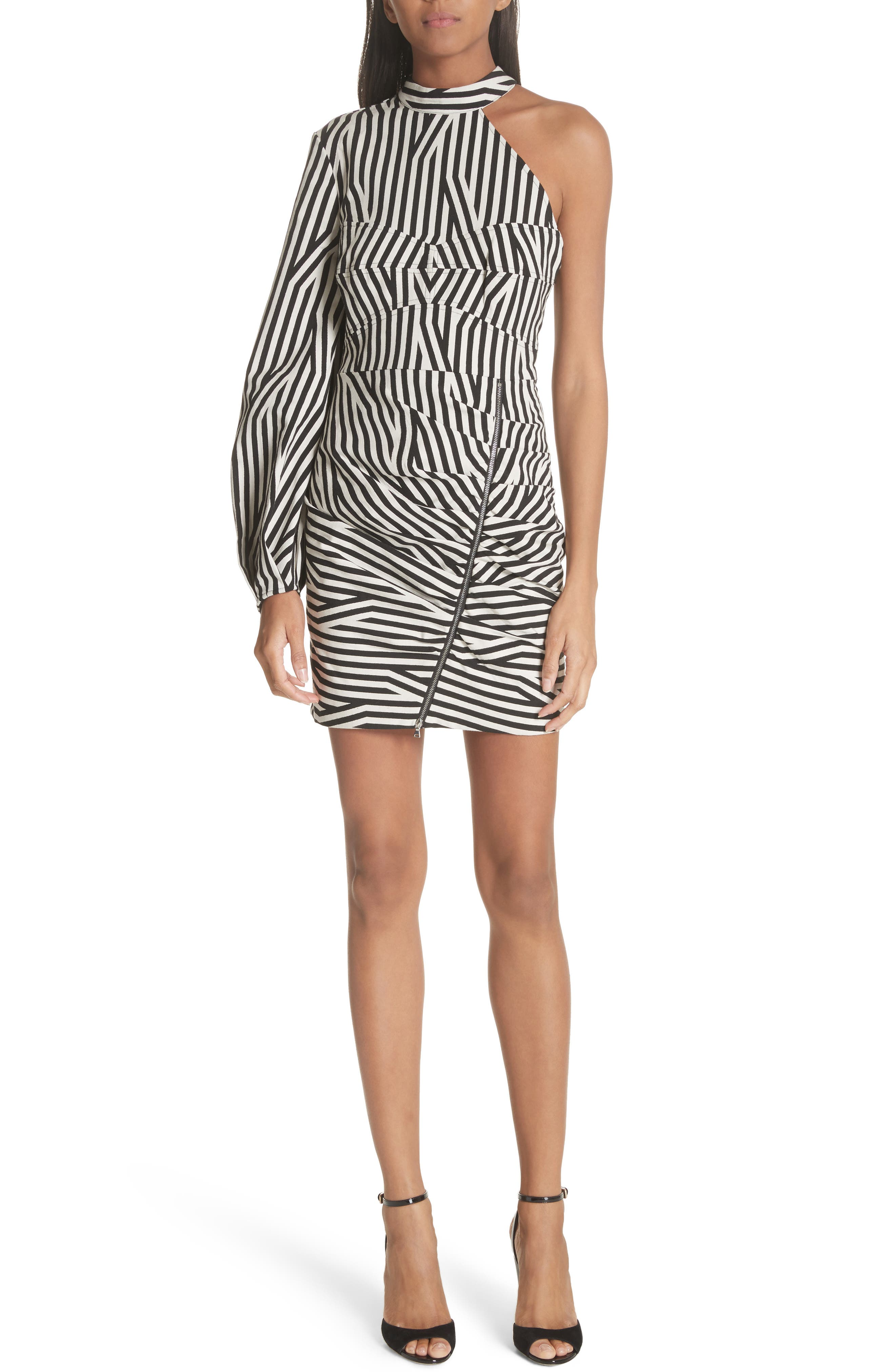 Abstract Stripe One-Shoulder Minidress,                         Main,                         color, Black/ White