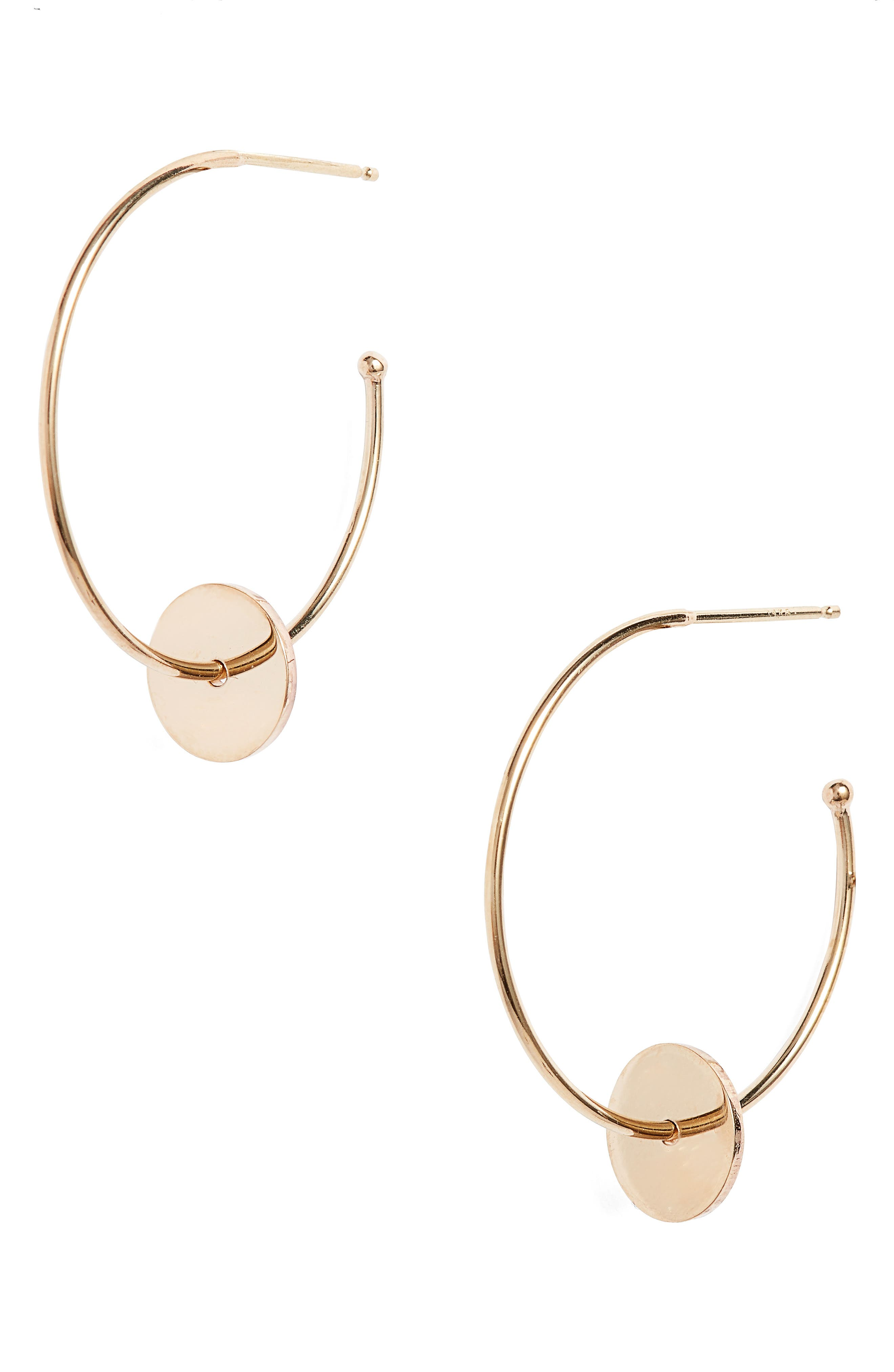 Washer Hoop Earrings,                         Main,                         color, Yellow Gold