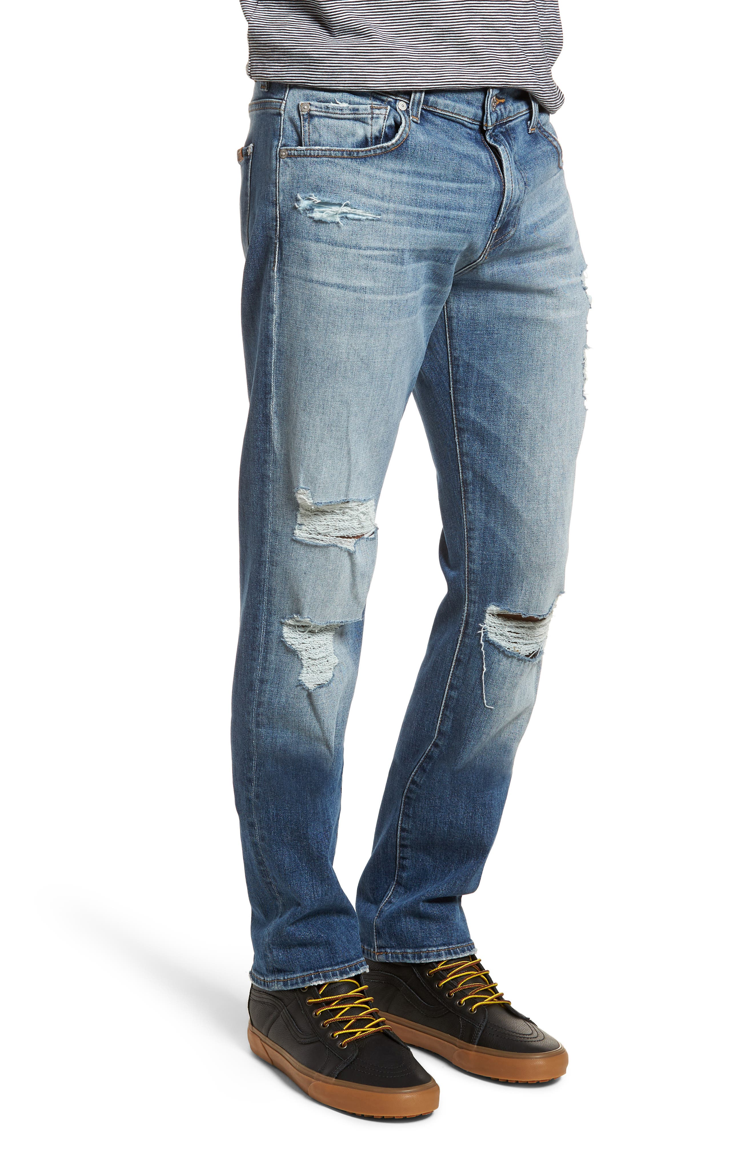 The Straight Slim Straight Leg Jeans,                             Alternate thumbnail 3, color,                             Free Agent Destroyed