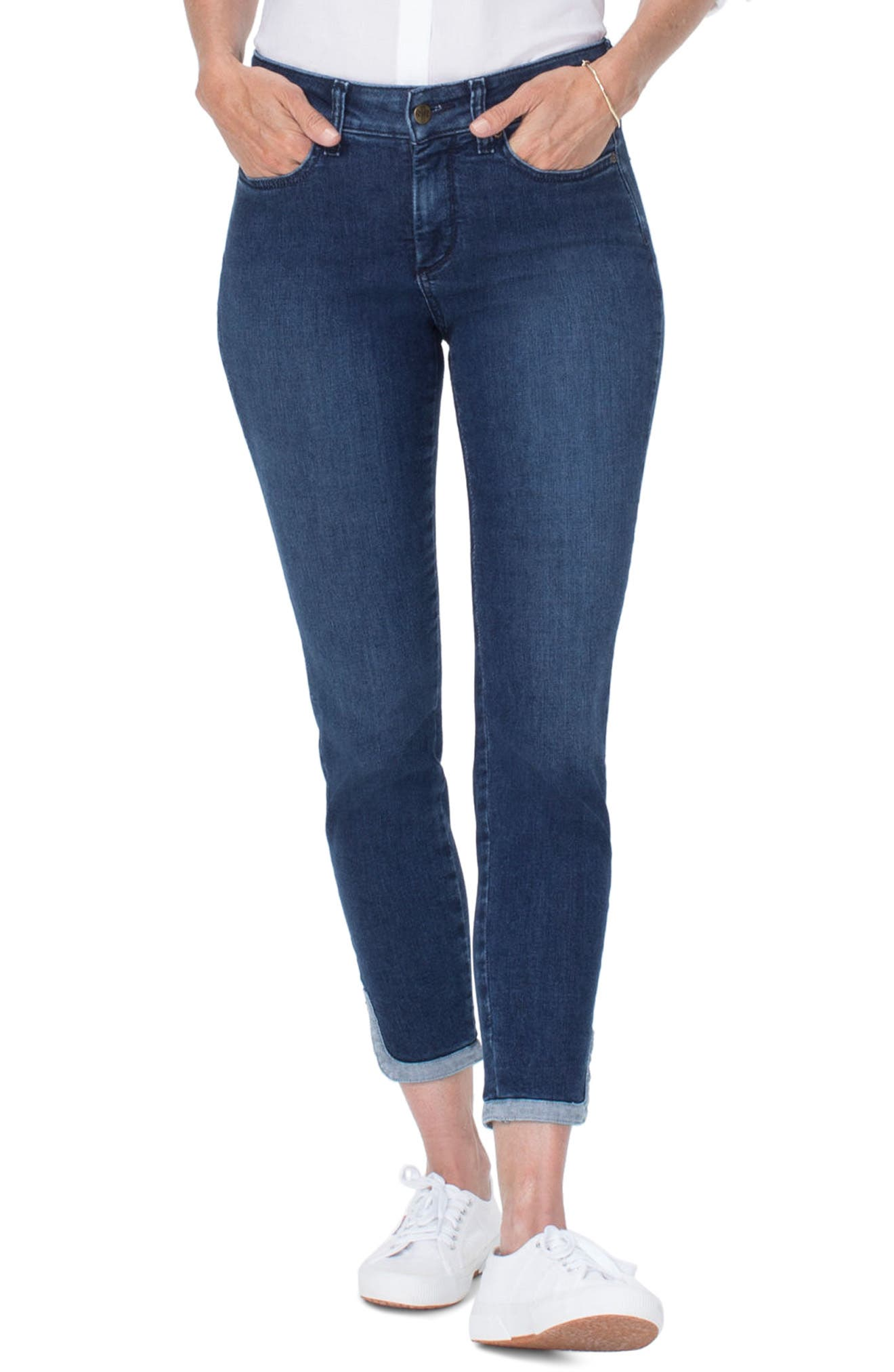 Ami Dolphin Hem Ankle Skinny Jeans,                             Main thumbnail 1, color,                             Cooper