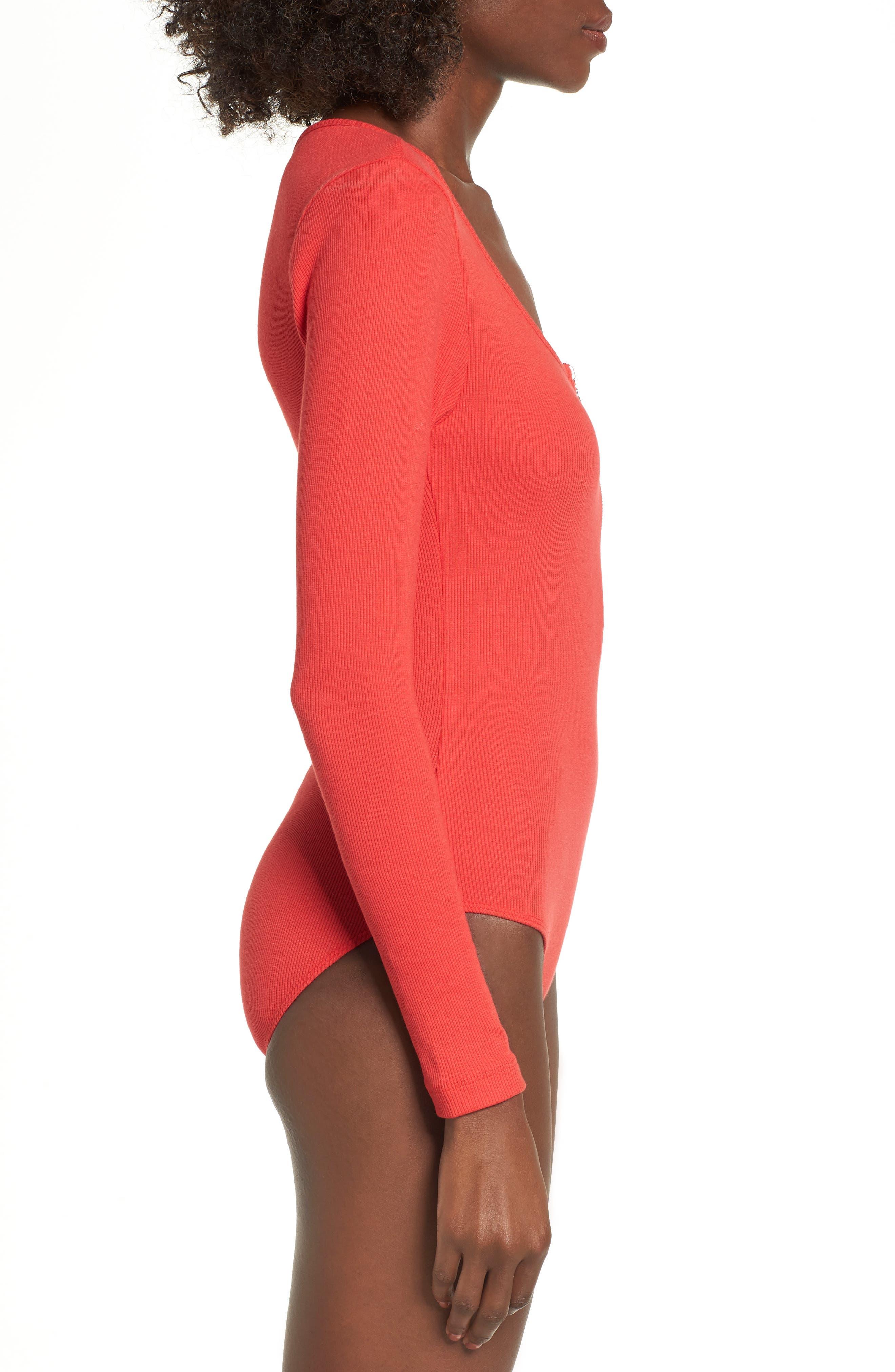 Ring Pull Zip Bodysuit,                             Alternate thumbnail 4, color,                             Red