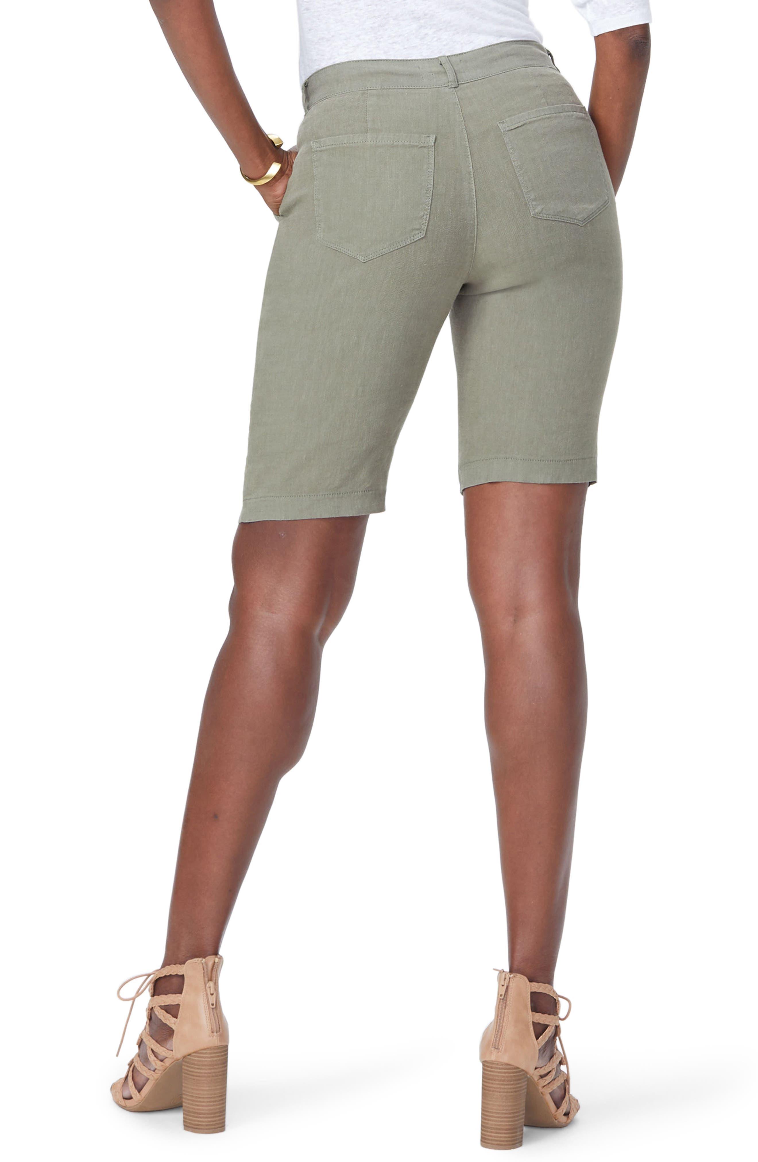 Stretch Linen Blend Bermuda Shorts,                             Alternate thumbnail 2, color,                             Topiary