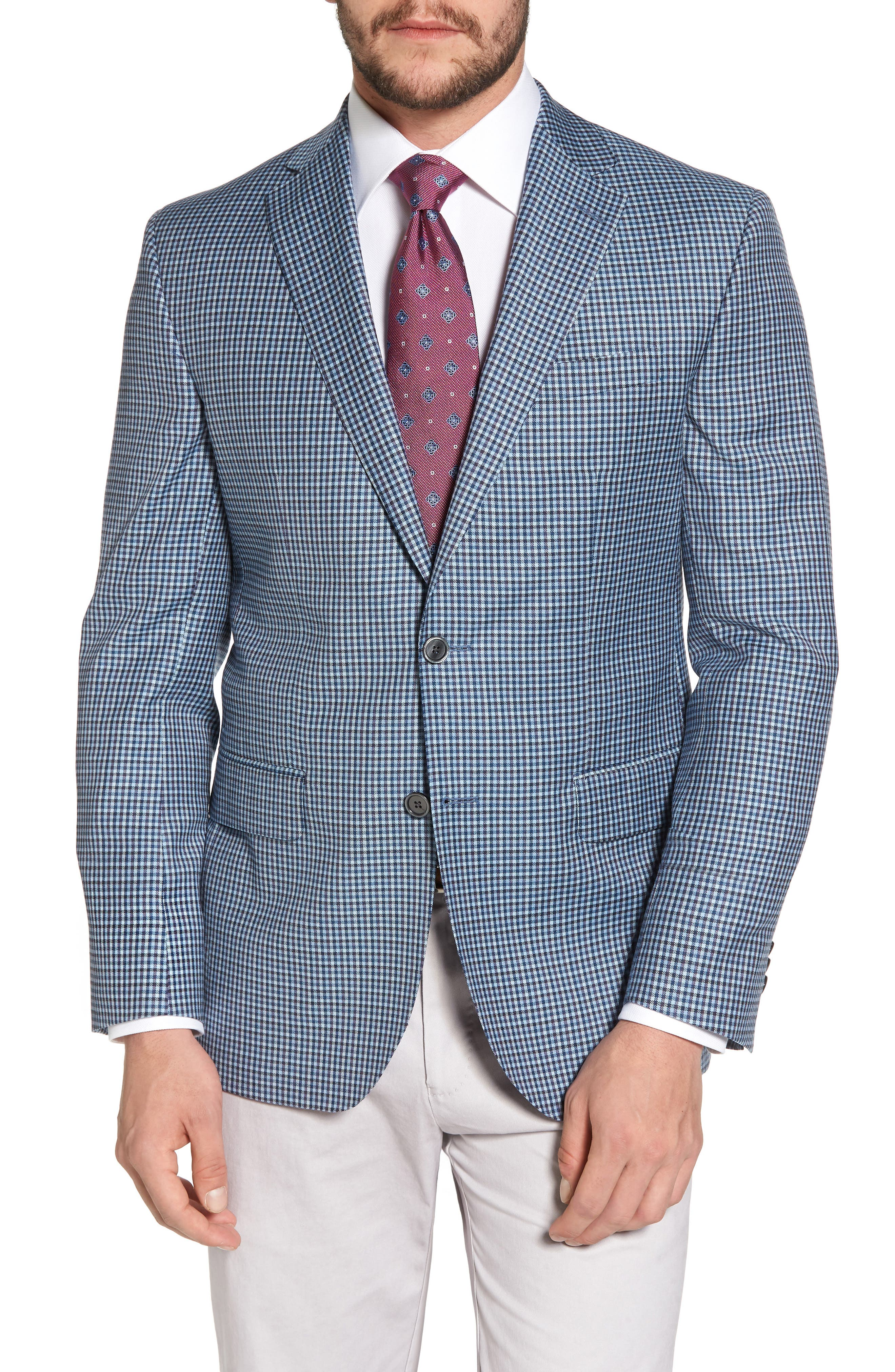 Arnold Classic Fit Check Wool Sport Coat,                         Main,                         color, Blue