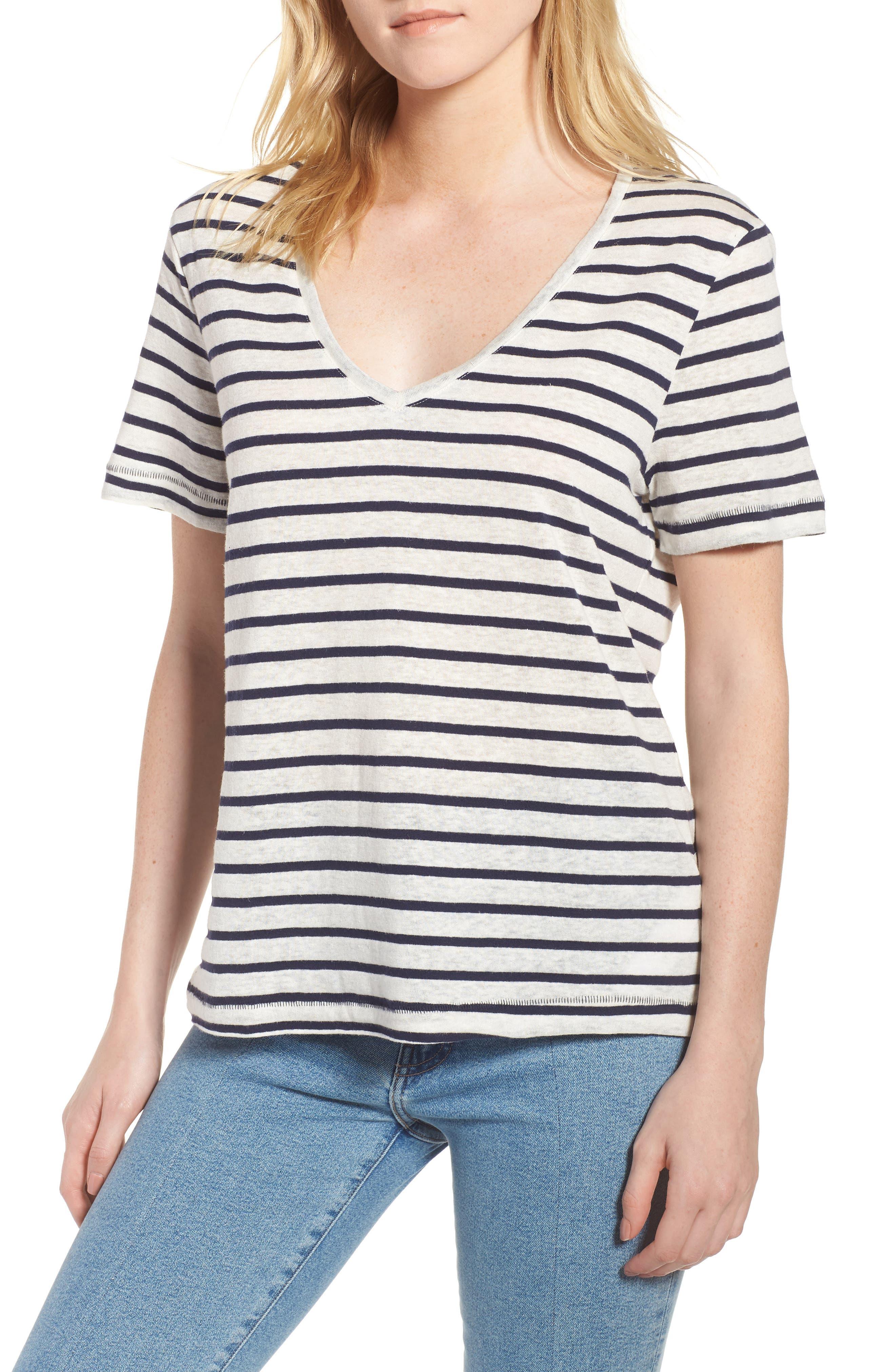 Stripe V-Neck Tee,                         Main,                         color, Navy Stripe