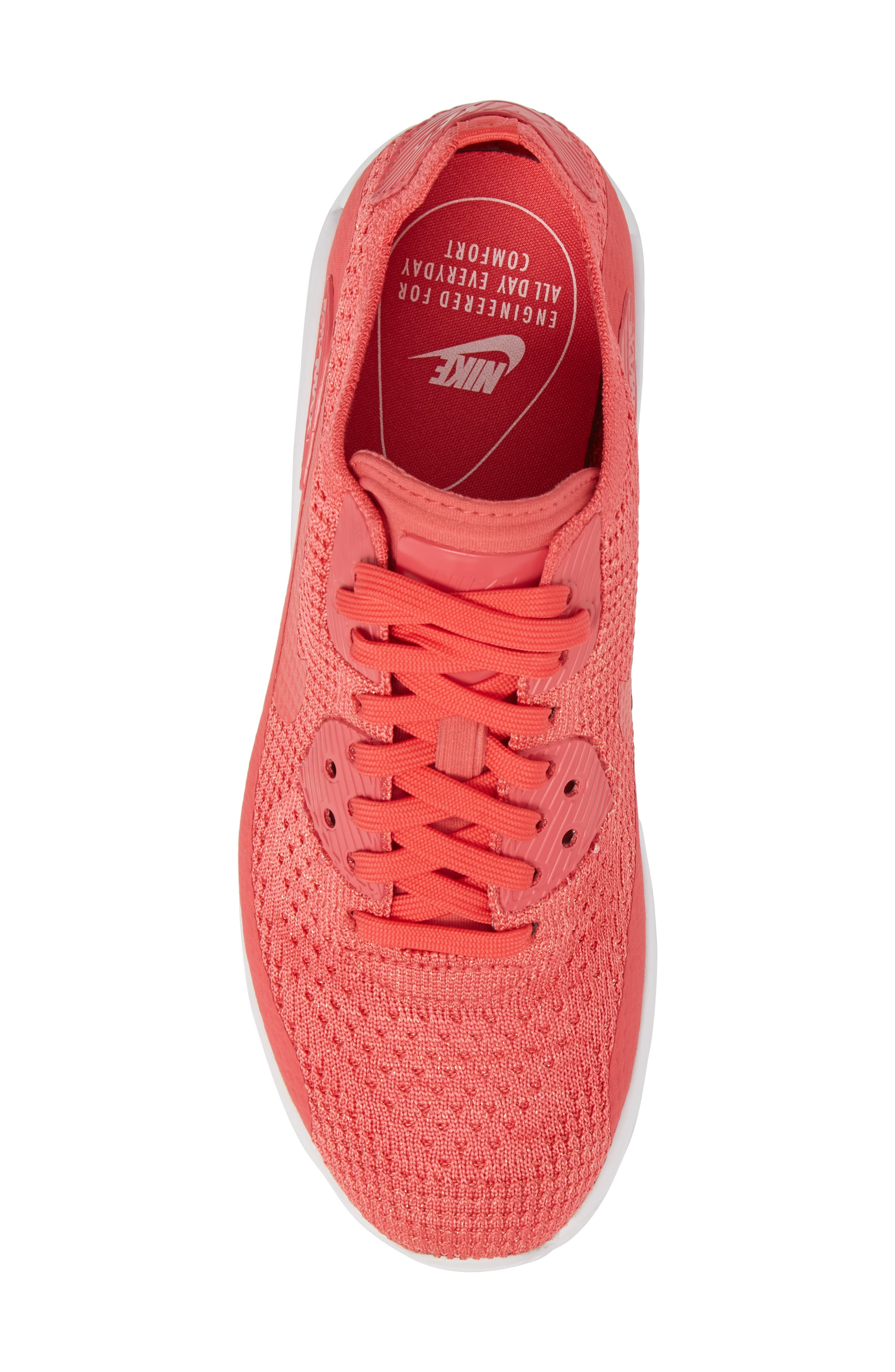 Air Max 90 Flyknit Ultra 2.0 Sneaker,                             Alternate thumbnail 5, color,                             Geranium/ Geranium